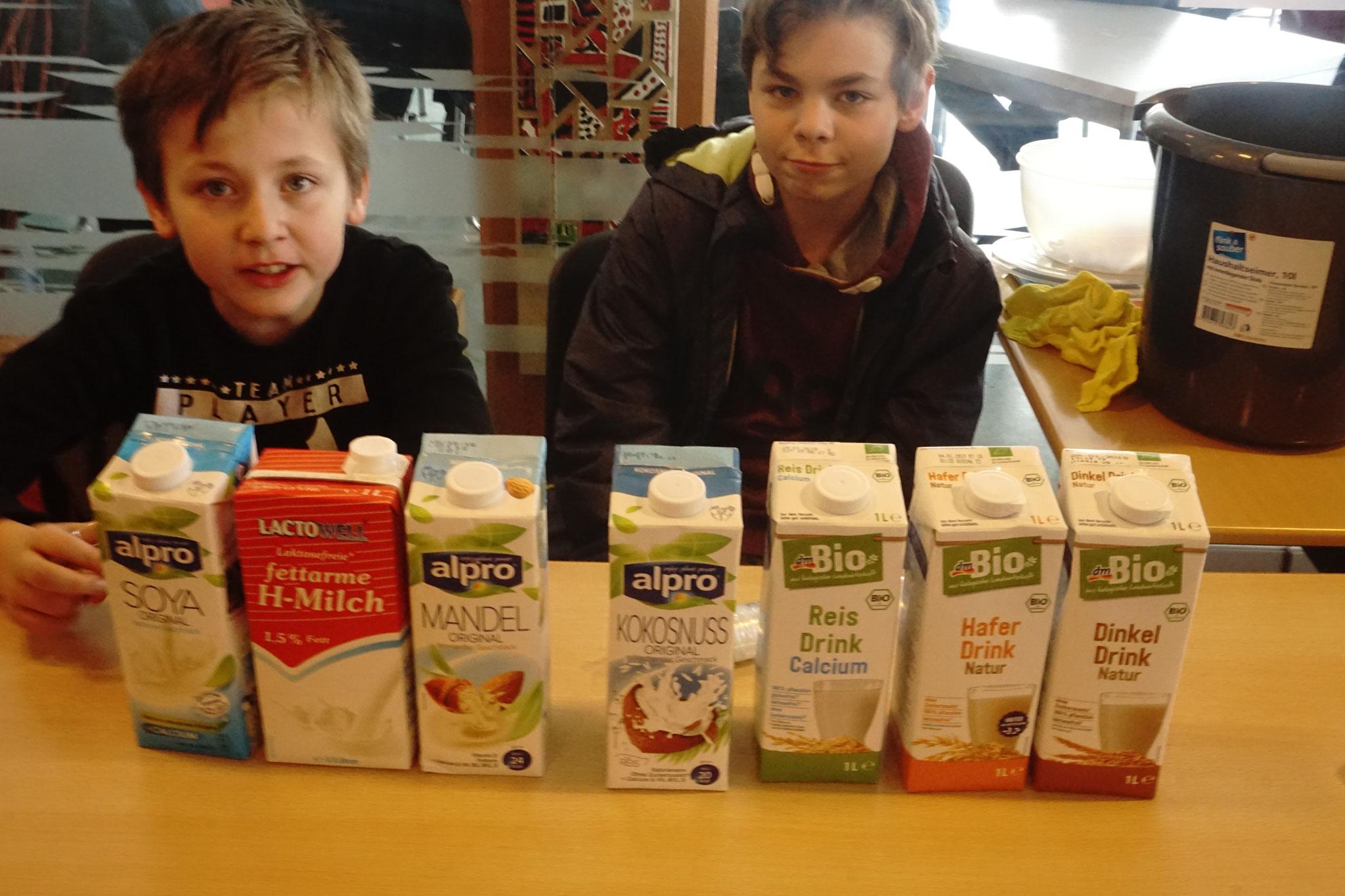 Eine Auswahl laktosefreier Milcharten zum Probieren