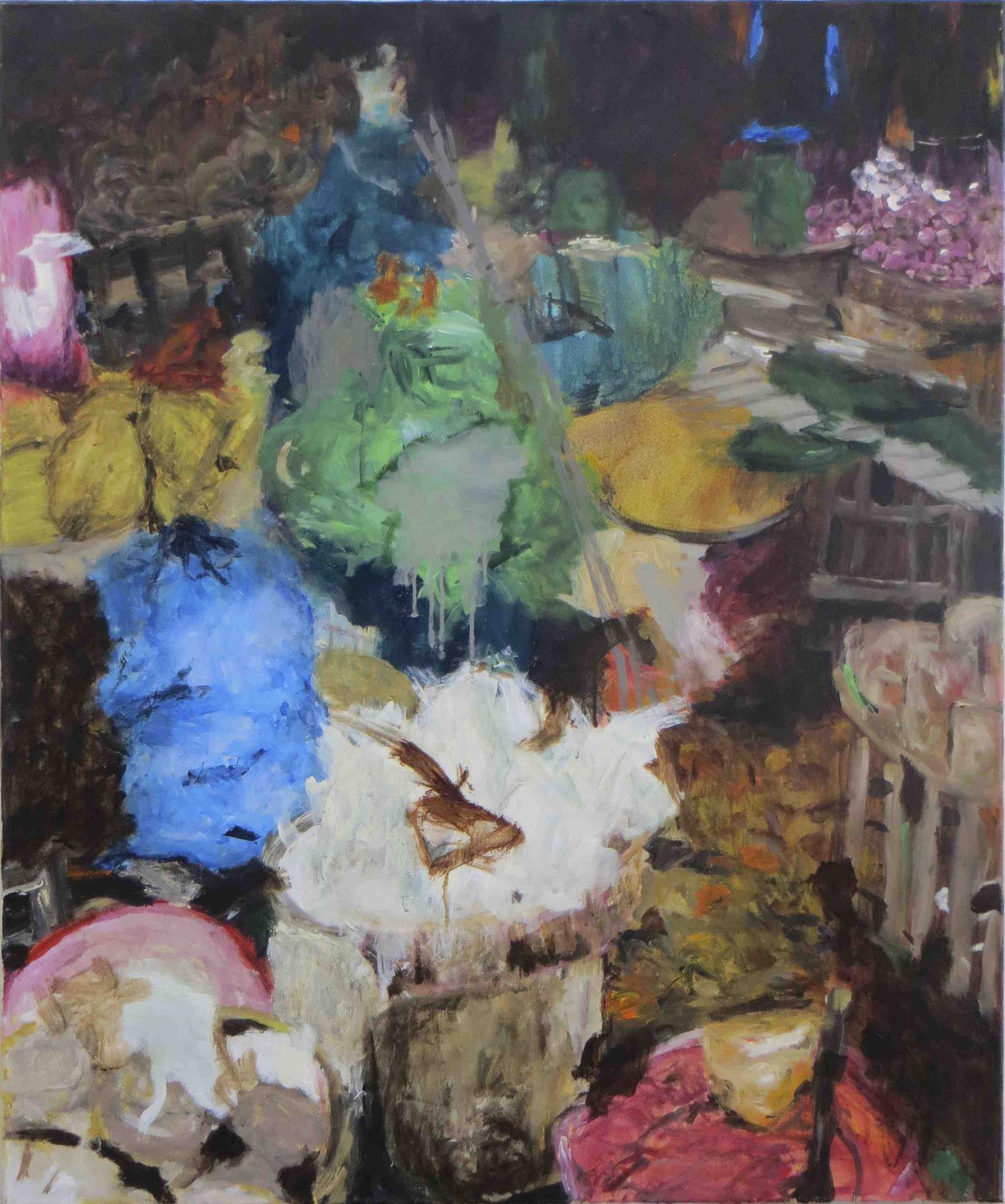 Morning Market Hué, Acryl auf Lwd, 120x100, 2012
