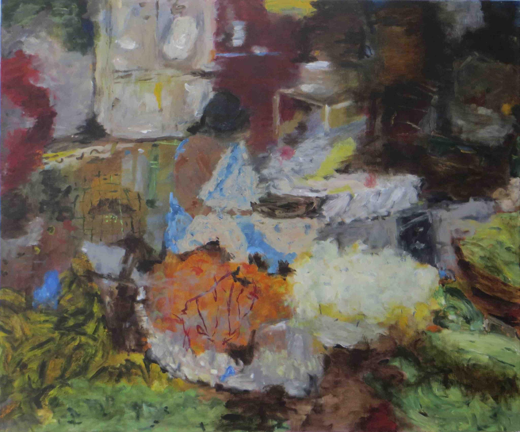 Morning Market Madurai, Acryl auf Lwd, 100x120, 2013