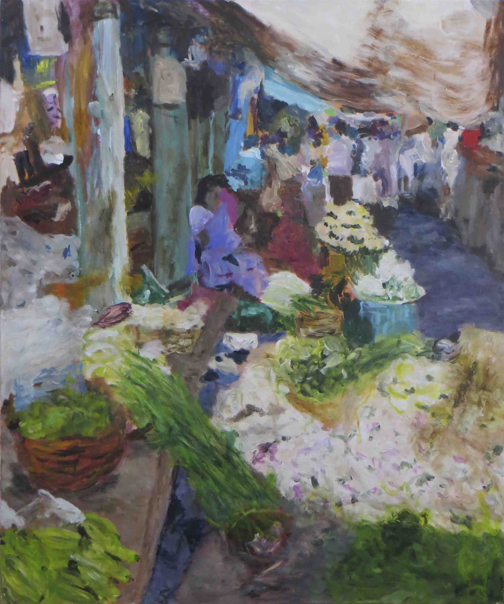 Morning Market Pondicherry, Acryl auf Lwd, 120x100, 2012