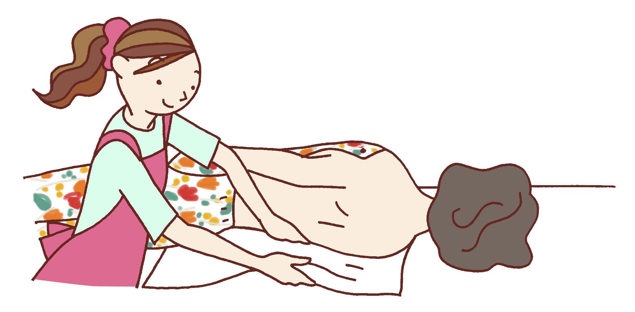逆側からやや身体をあげて生地を引き出して広げる。