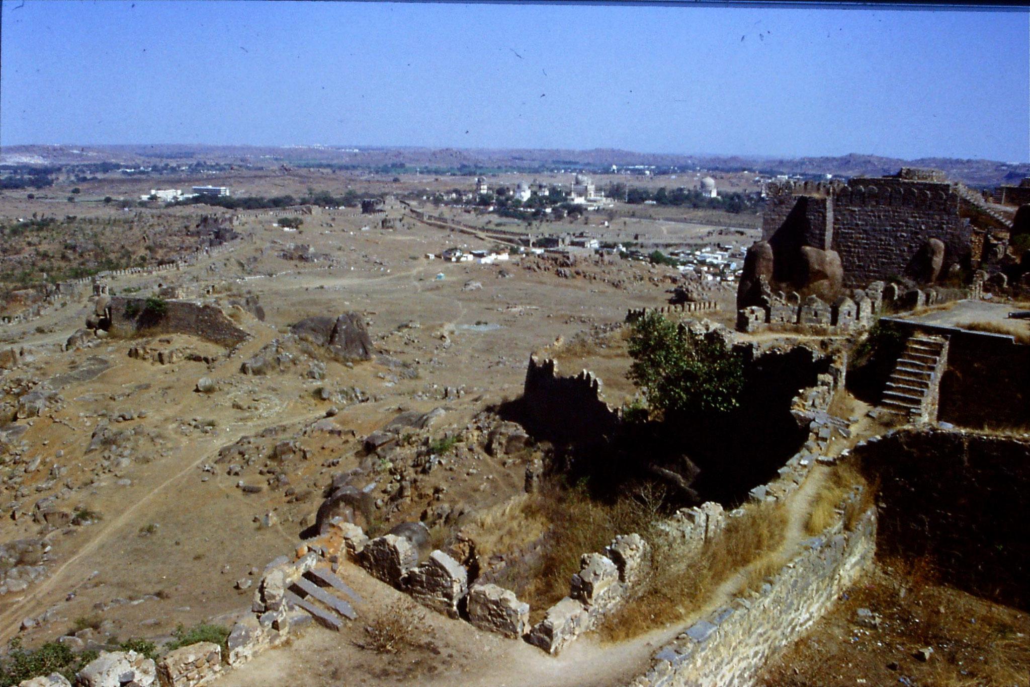 108/29: 22/3/1990 Hyderabad - Qutab Shahi tombs from Golconda Fort