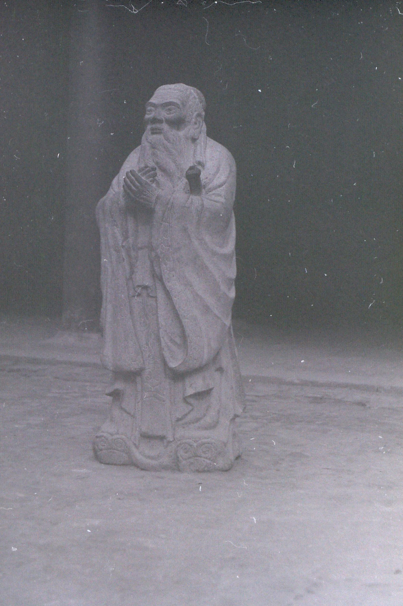 21/2/1989: 25: Qufu statue of Confucius inside temple