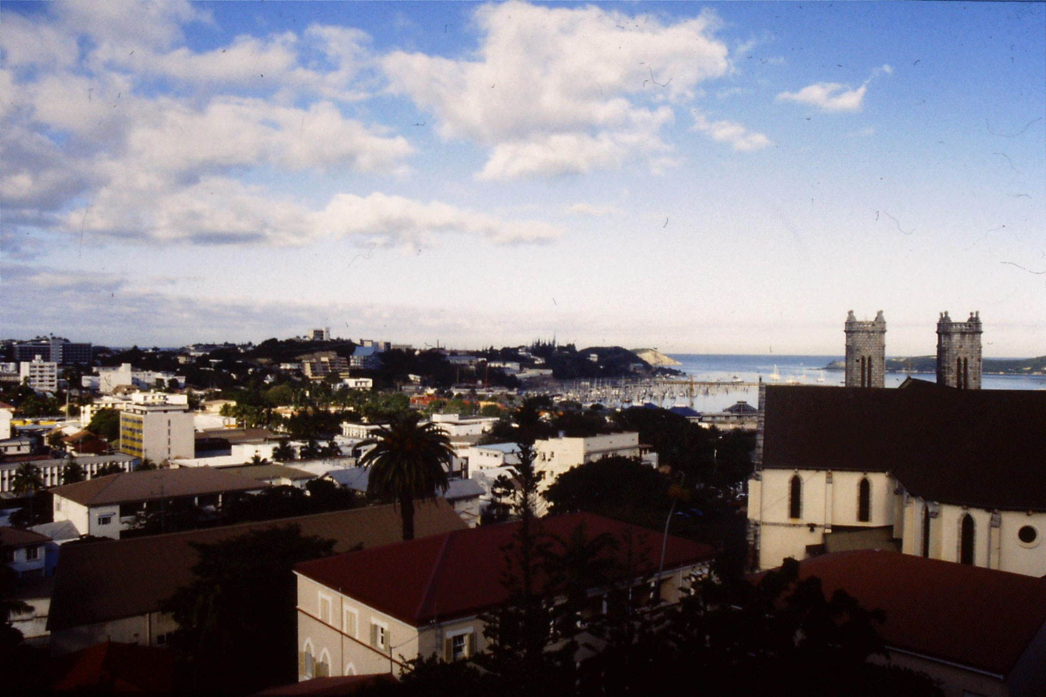 19/7/1990: 10: Noumea morning view from our room in Youth Hostel over harbour