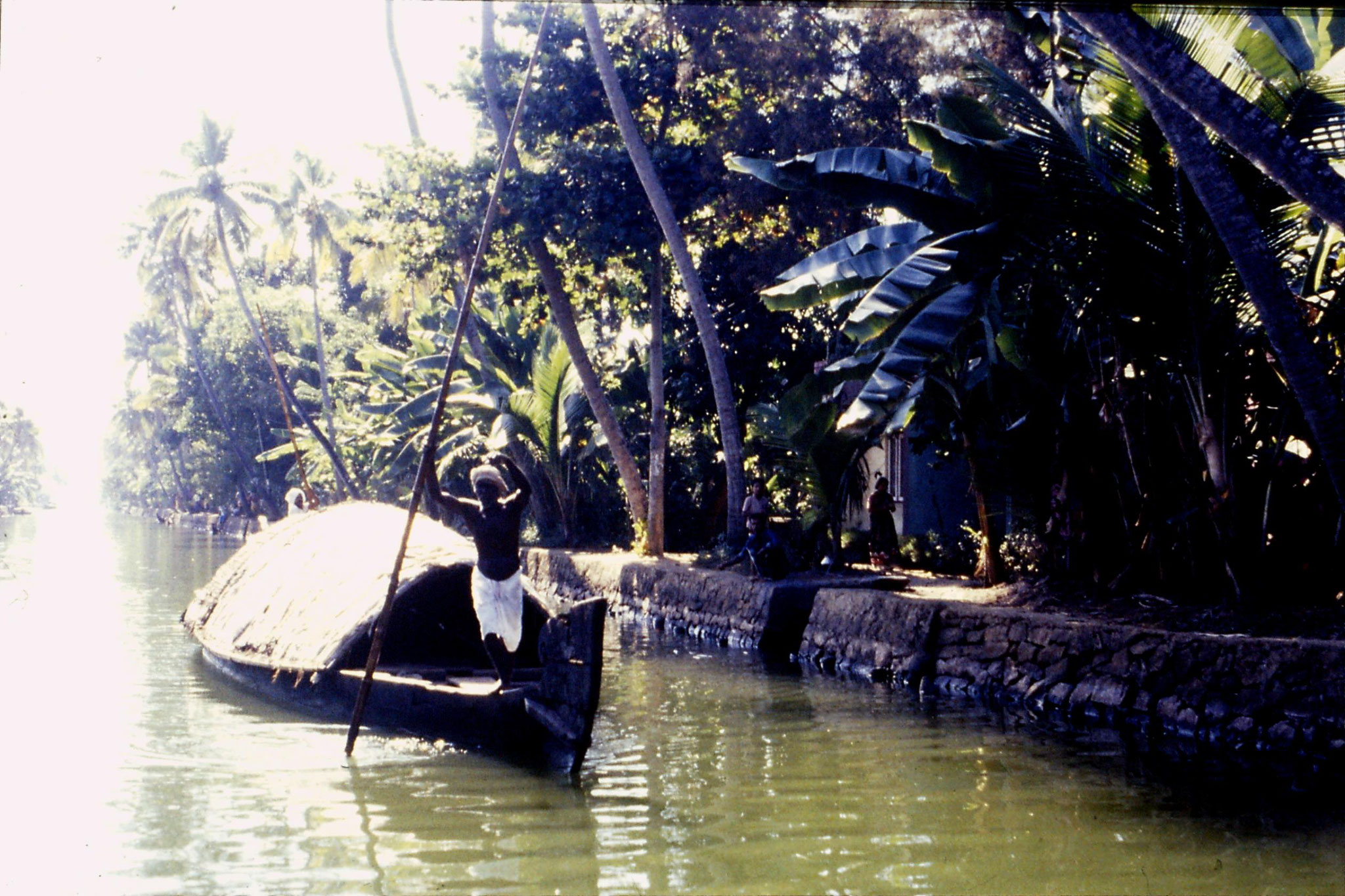 106/2: 23/2/1990 Boat to Alleppey - covered low boat poled by 2 men