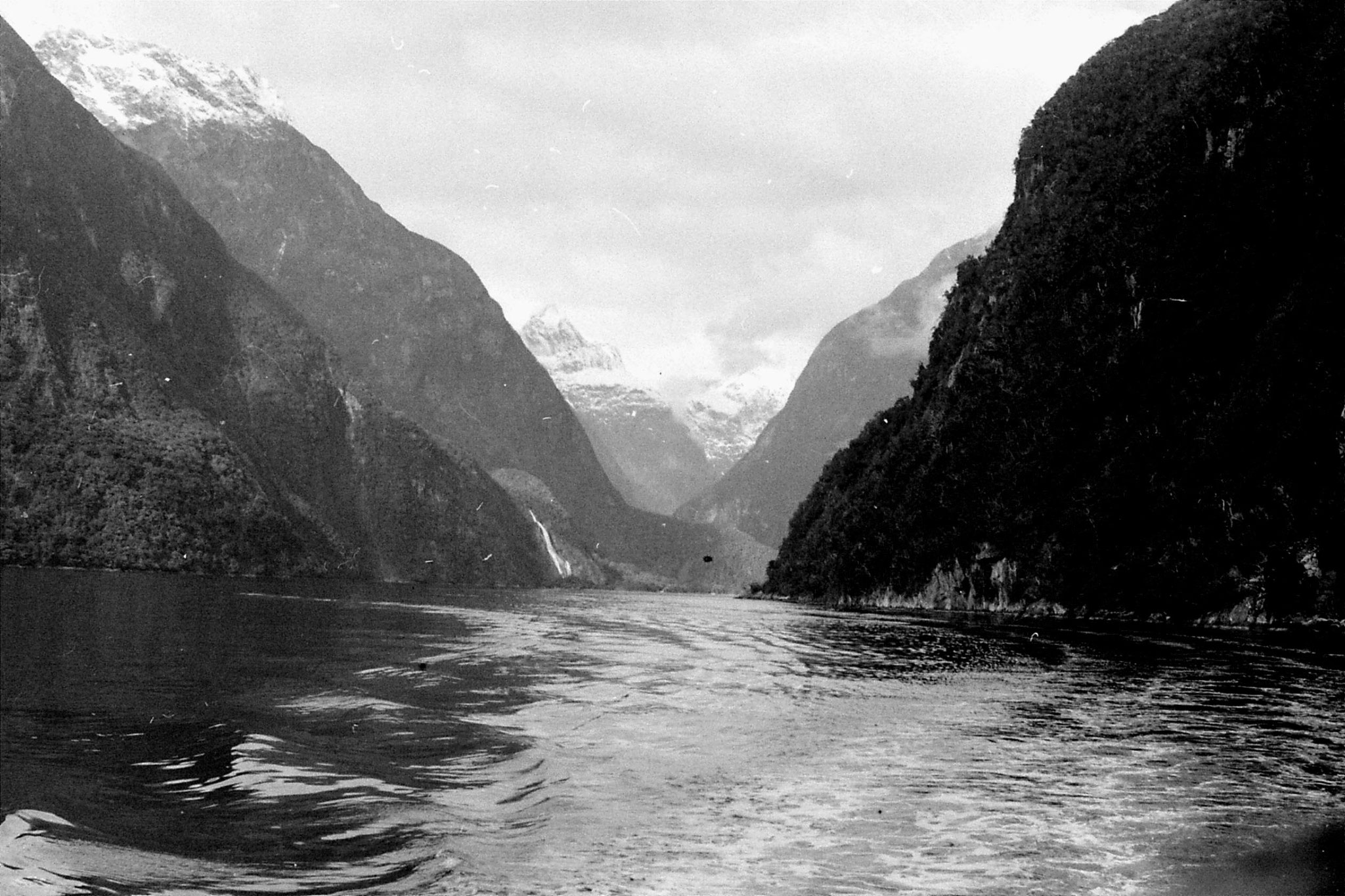 15/8/1990: 16: looking up to head of Milford Sound with Lady Bowes Falls