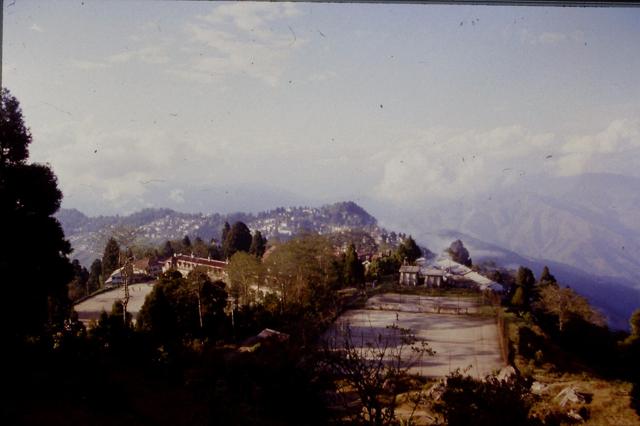 1/5/1990: 2: Darjeeling, view towards Kanchenjunga with St Paul's school