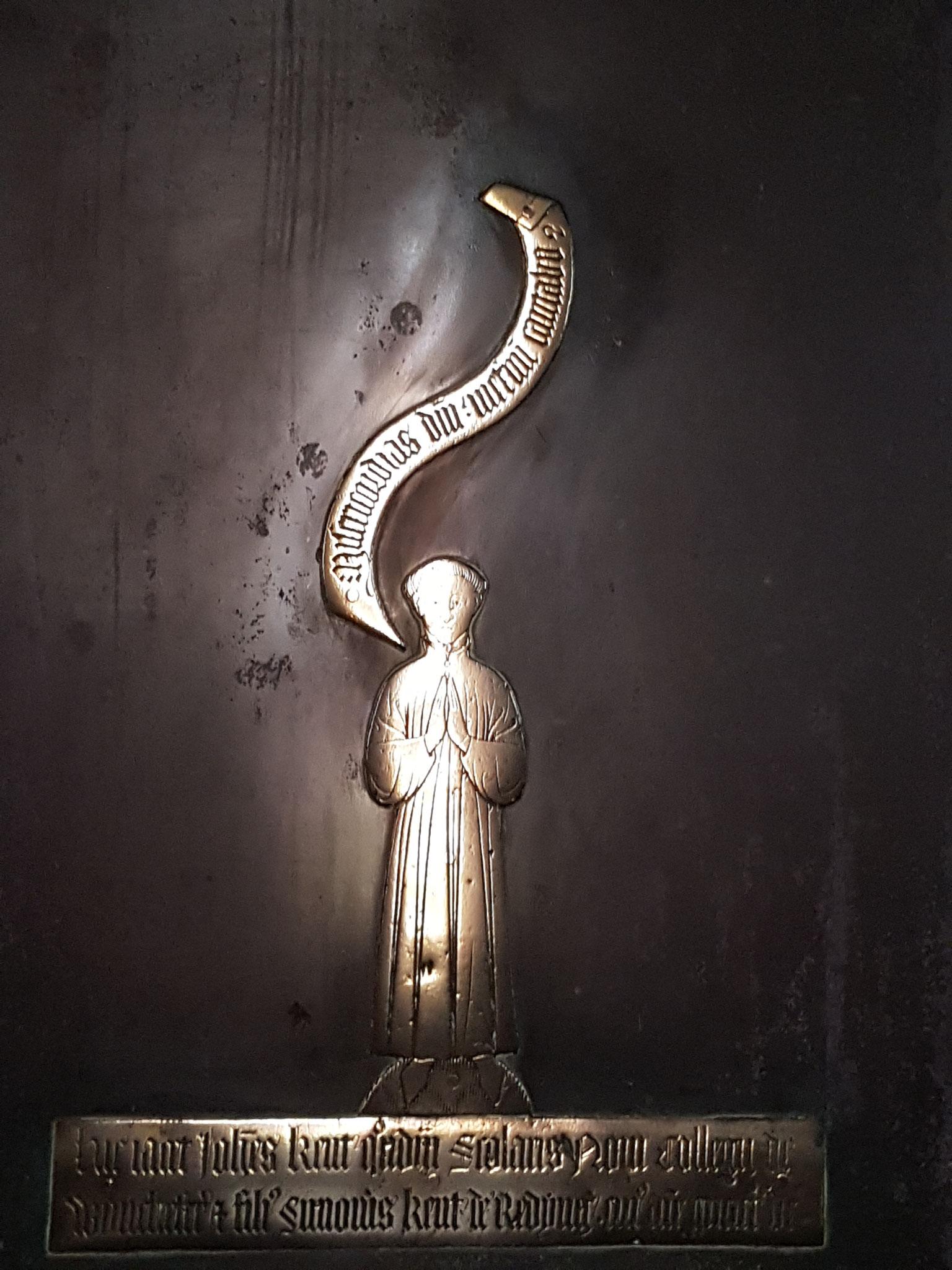 Brass of Winchester scholar John Kent d. 1434