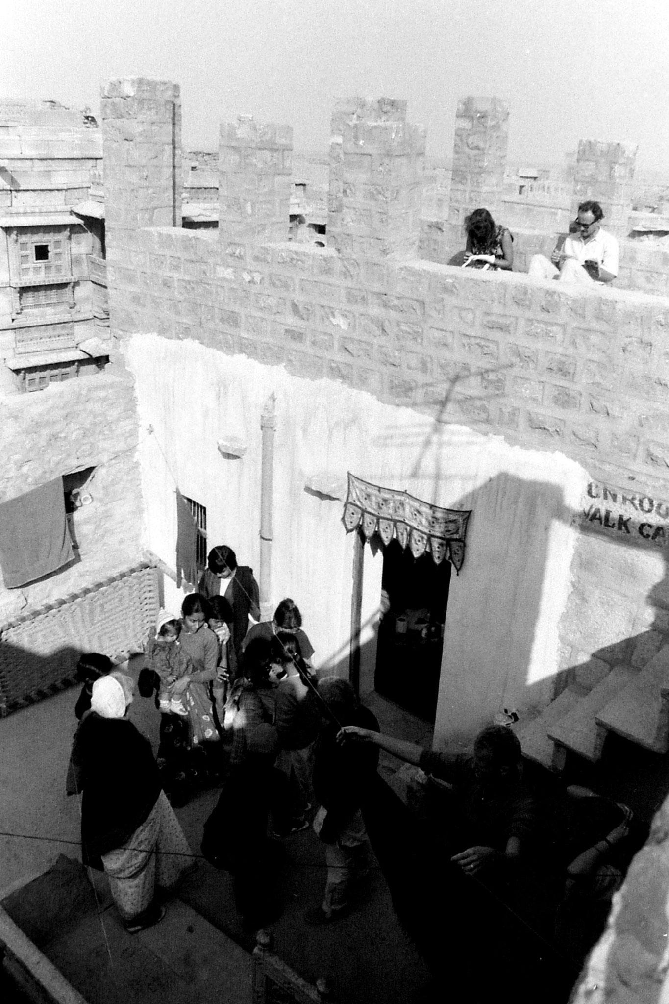 2/12/1989: 12: Jaisalmer, Elizabeth having her picture taken outside our room