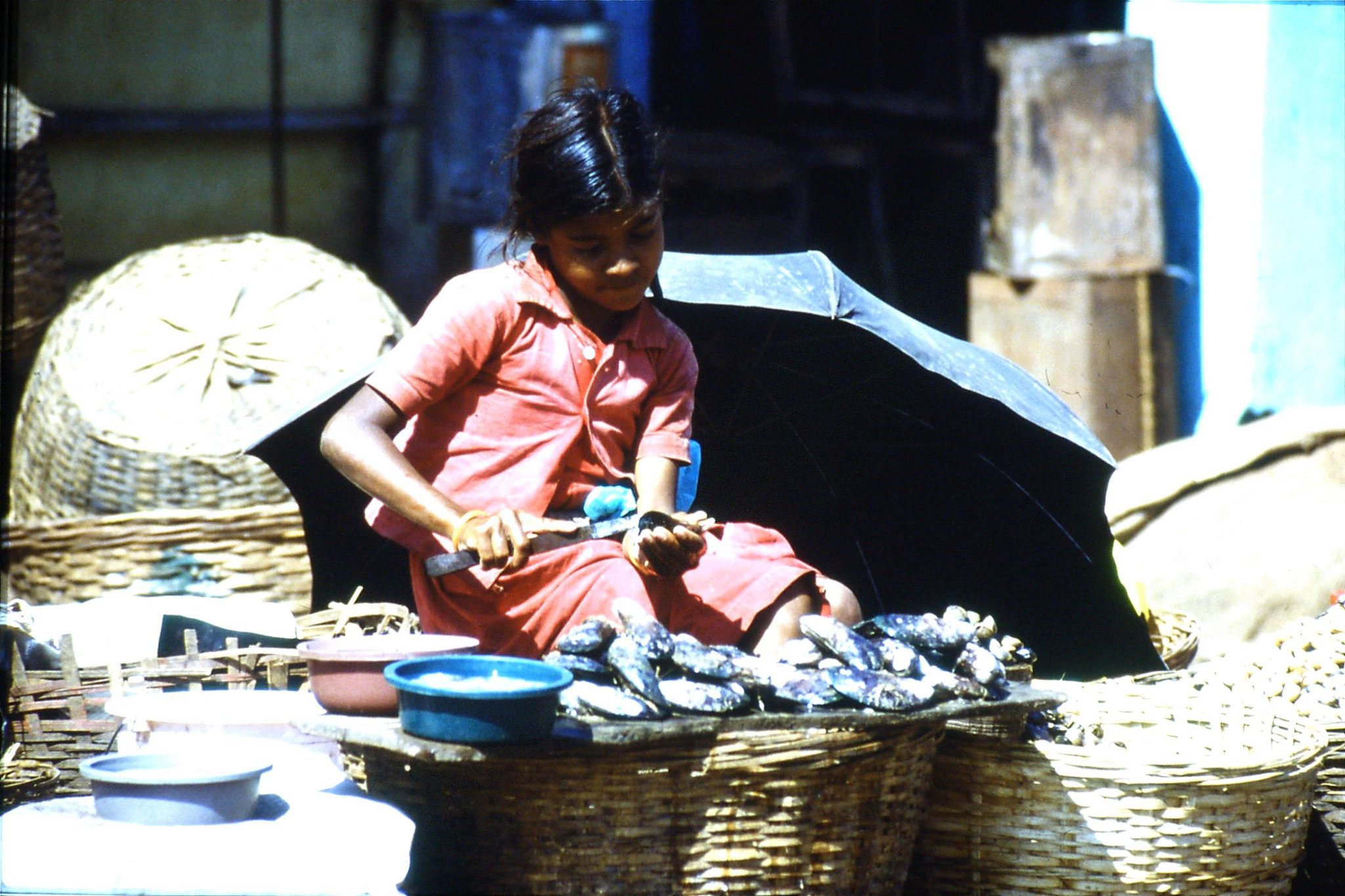 6/1/1990: 5: Mapusa market girl preparing shell fish
