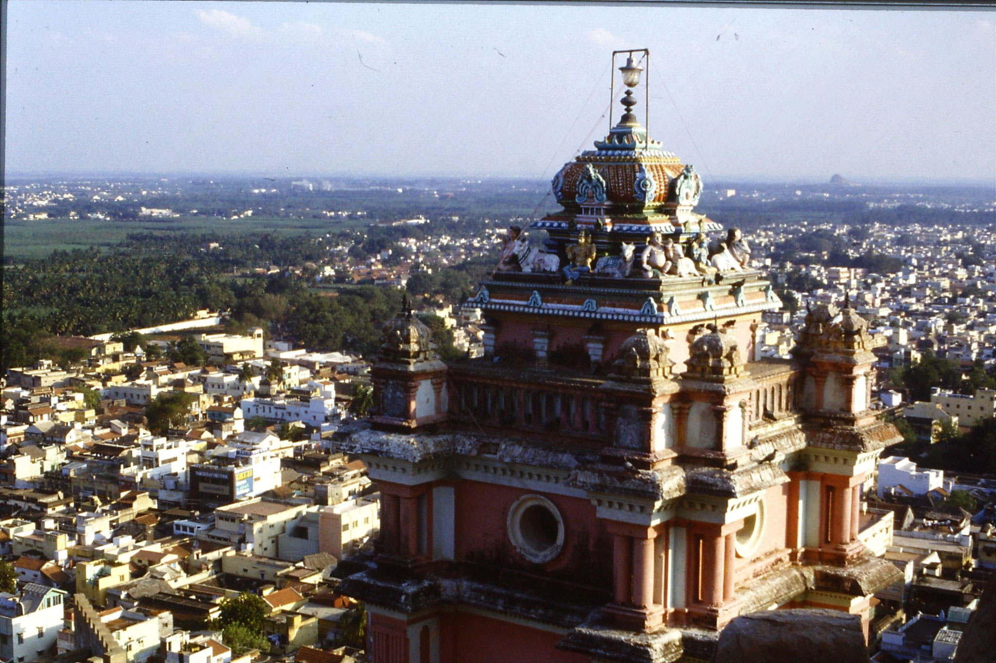 104/17: 13/2/1990 Trichy from top of rock fort looking SE with bit of Hindu Temple in foreground