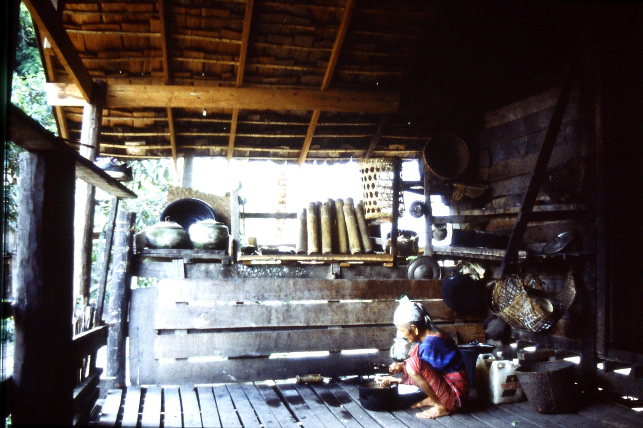 12/6/1990: 25: Trek - Hue Kom Karen village, chopping bamboo