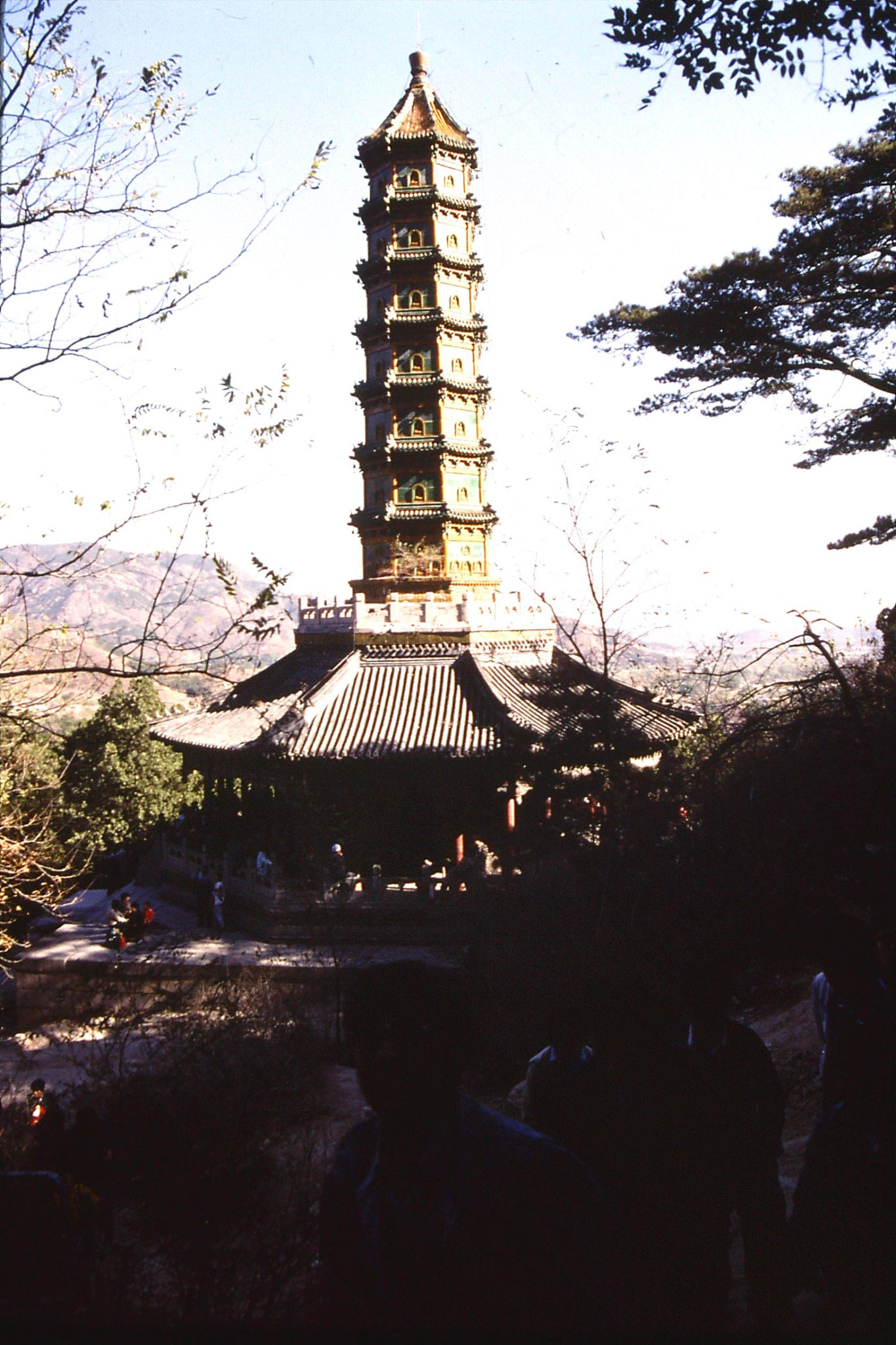 6/11/1988: 28: outing to Xiangshan, pagoda with Beijing in distance