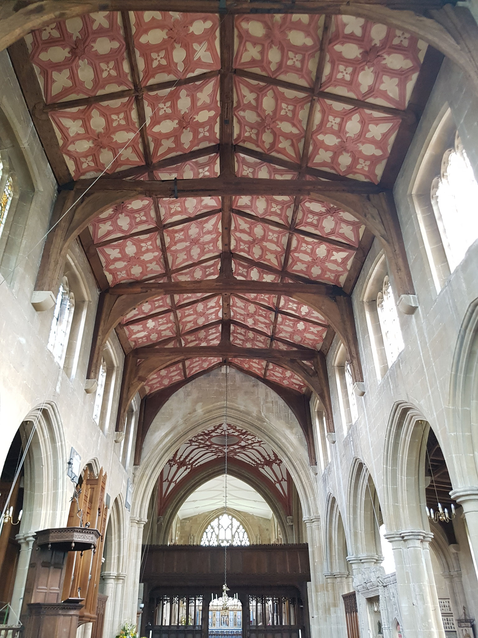Coloured quatrefoil panels of nave c. 1663