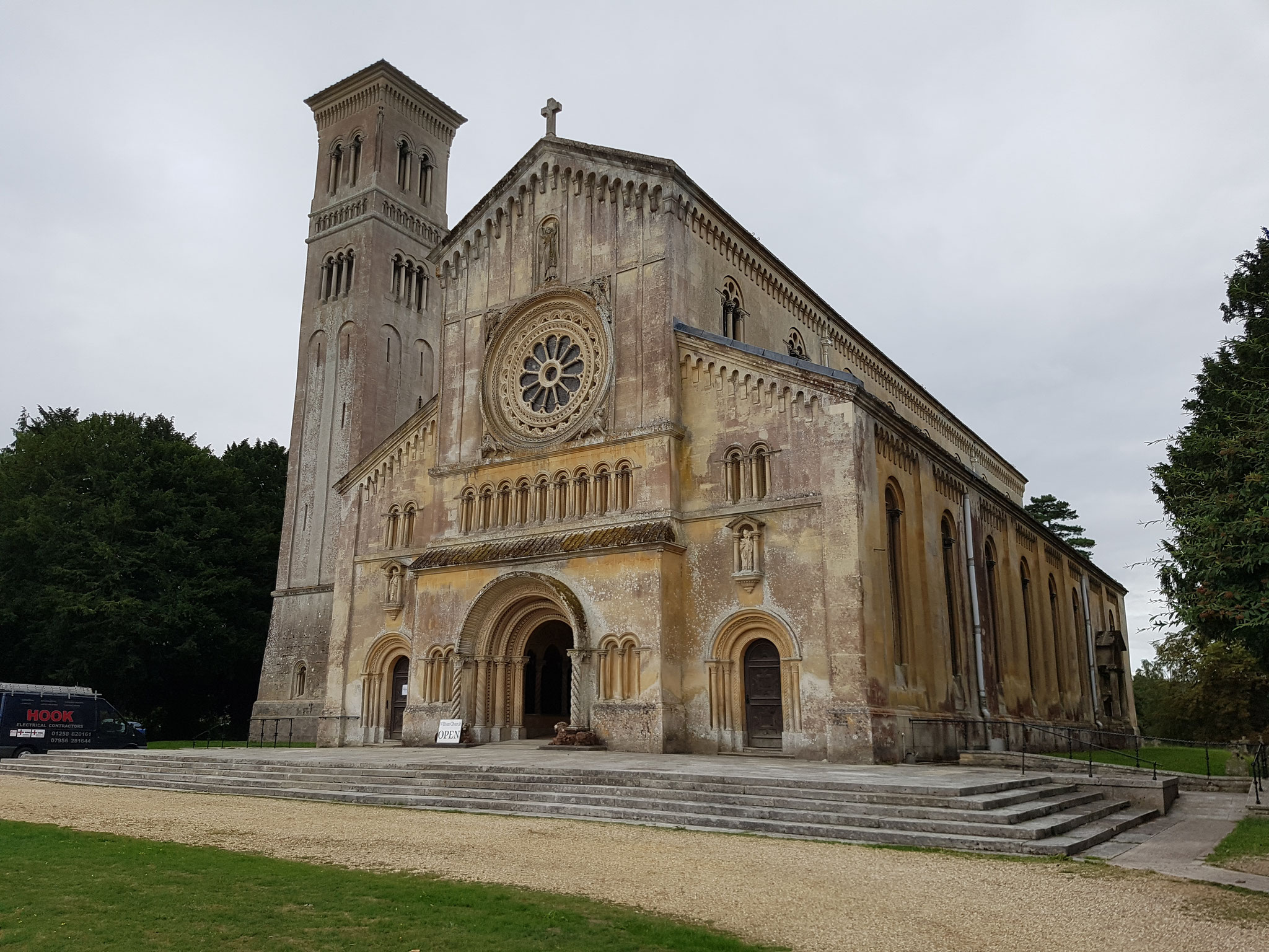 St Mary and St Nicholas. Built 1841-5 by Countess of Pembroke in Lombardic Romanesque style