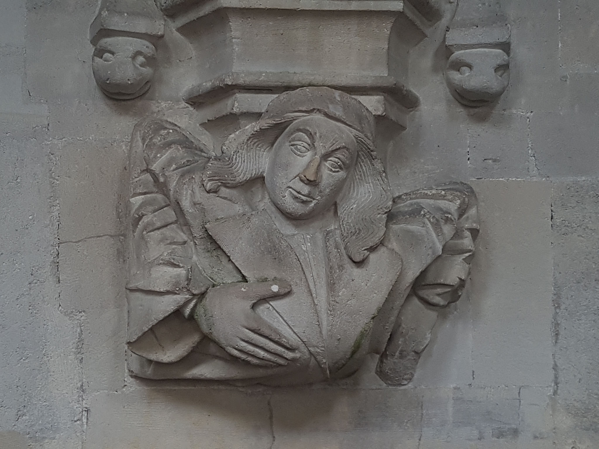 carving in chantry aisle