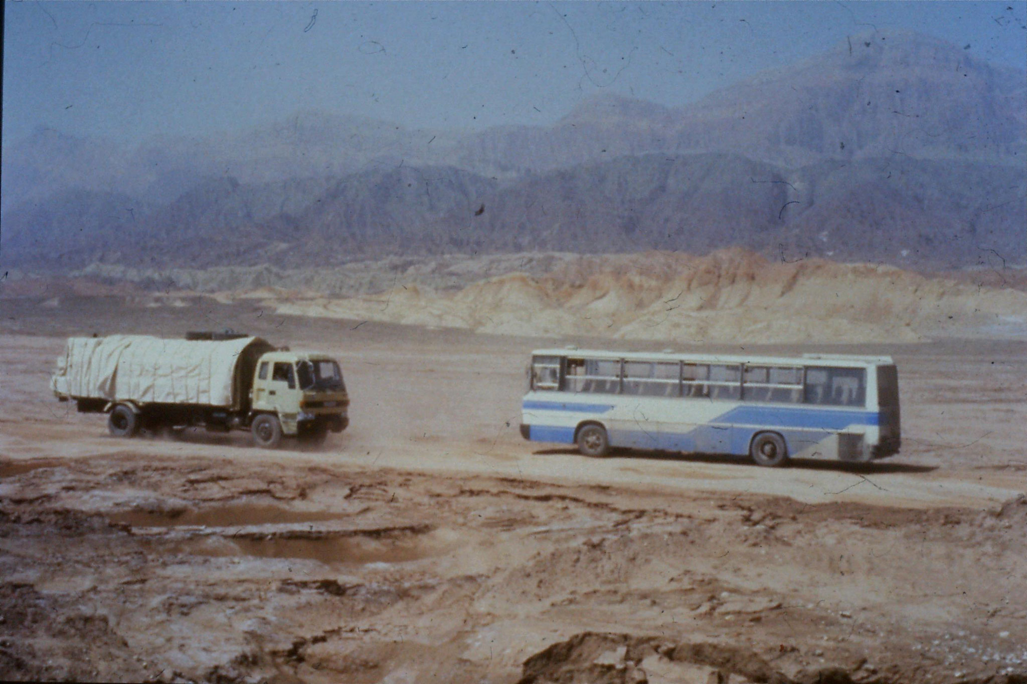 6/9/1989:13: our bus going over bumpy ground