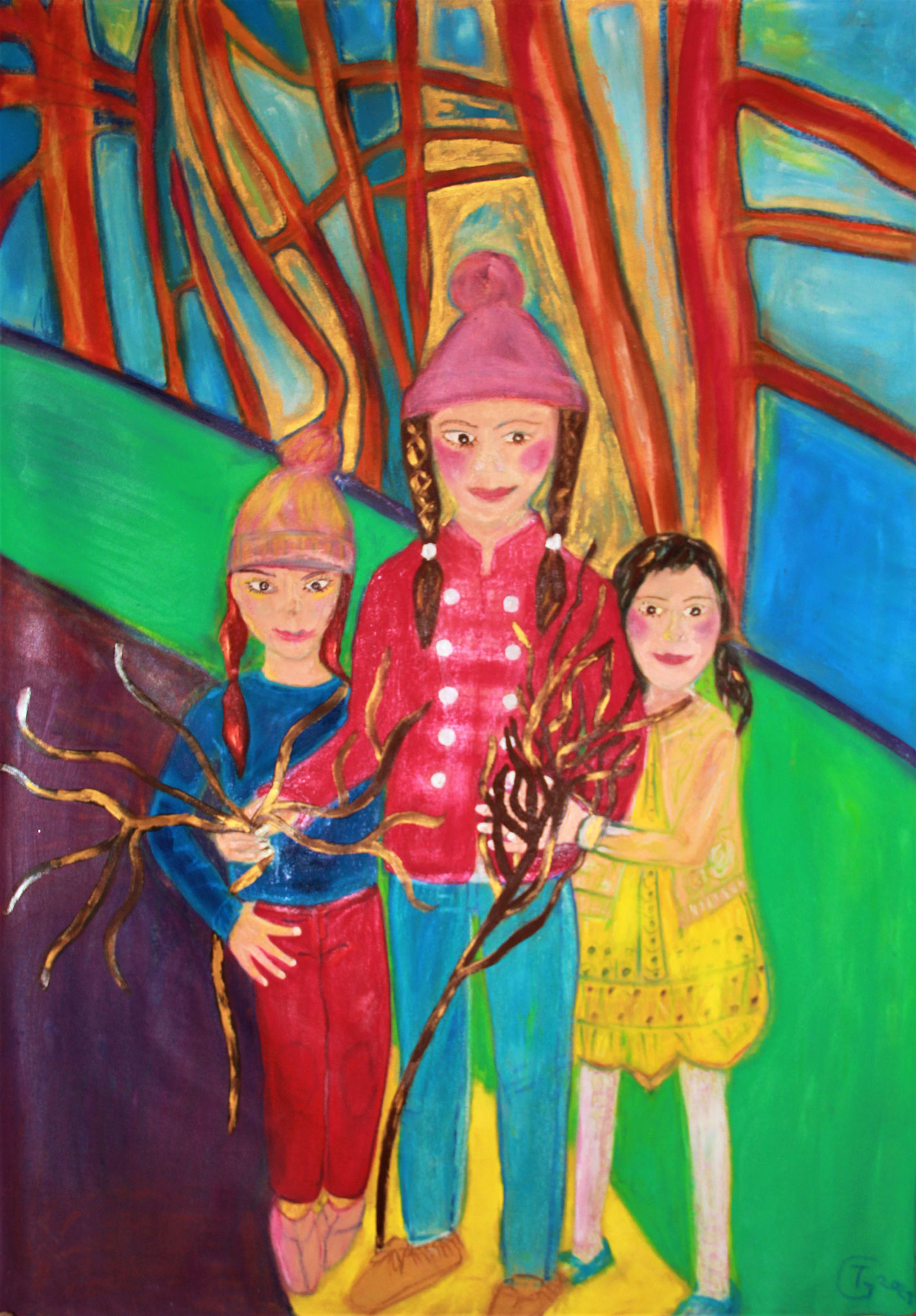 My three daughters   -    oel painting  -      120x170cm   -   by  Theda Gutenberg