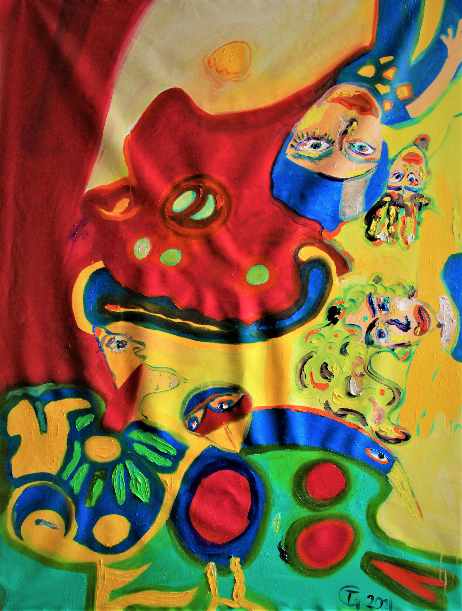 politics is a octupus  -    oel painting  -      120x170cm   -   by  Theda Gutenberg