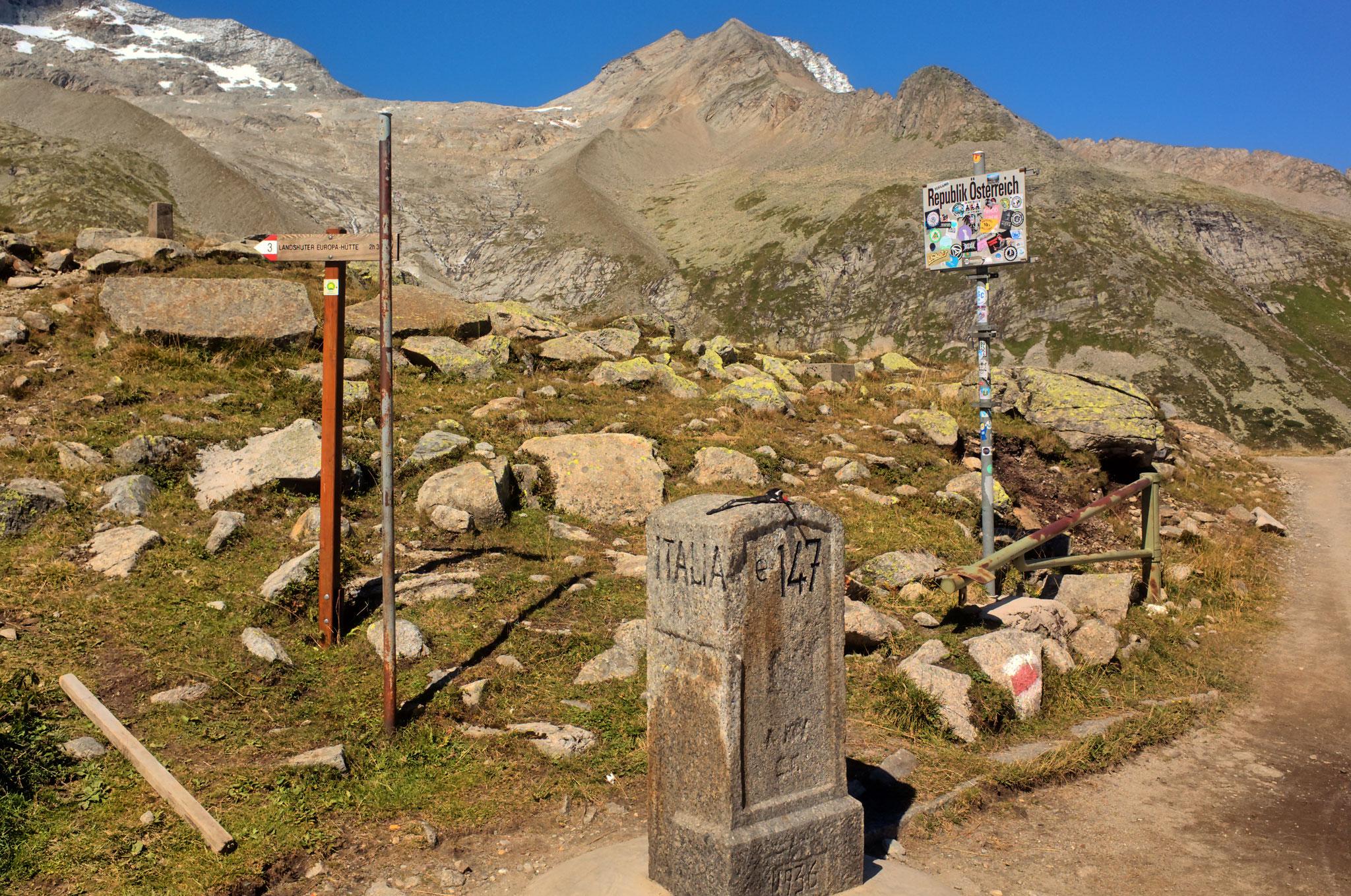 Das Pfitscherjoch bildet die Grenze zwischen Österreich und Italien, 4.9.2020