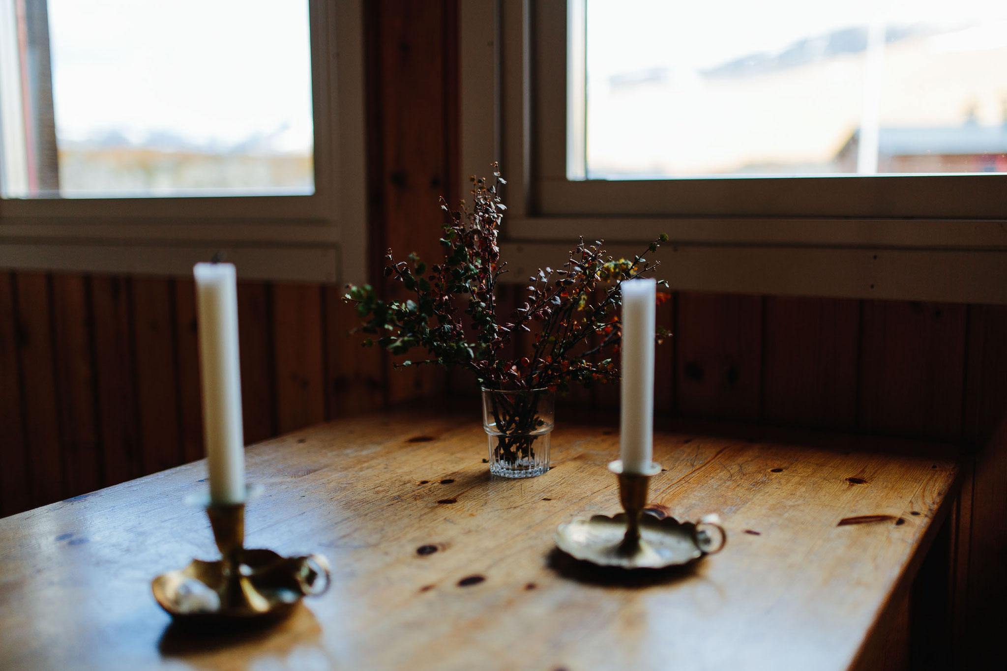 Romantische Stimmung in der Hütte