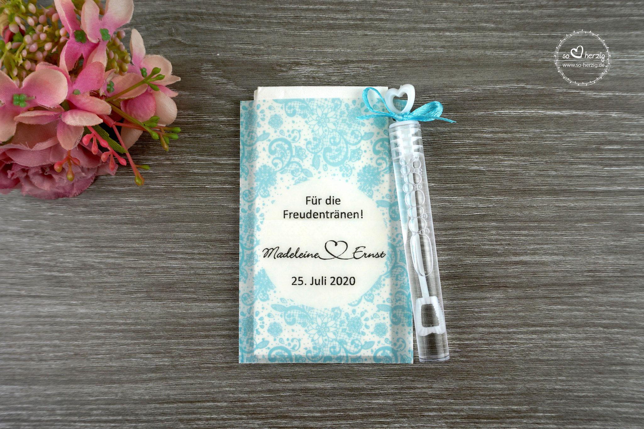 Freudentränen Taschentücher mit Seifenblasen, Design Spitze Vintage, Farbe türkis hell, Satinband