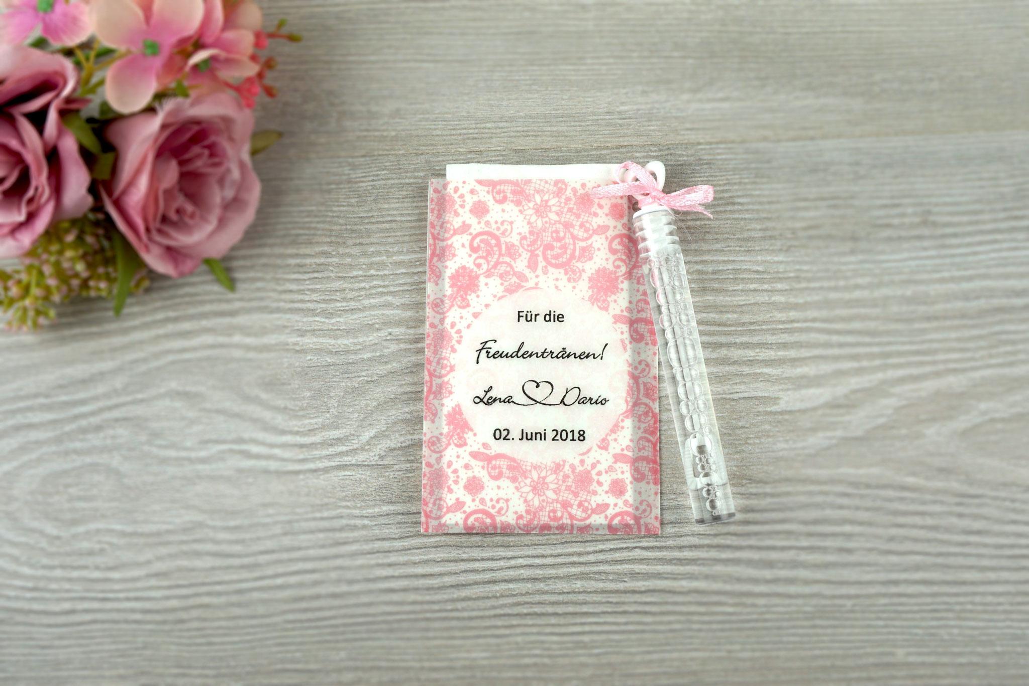 Freudentränen Taschentücher mit Seifenblasen, Design Spitze Vintage, Farbe rosa, Satinband
