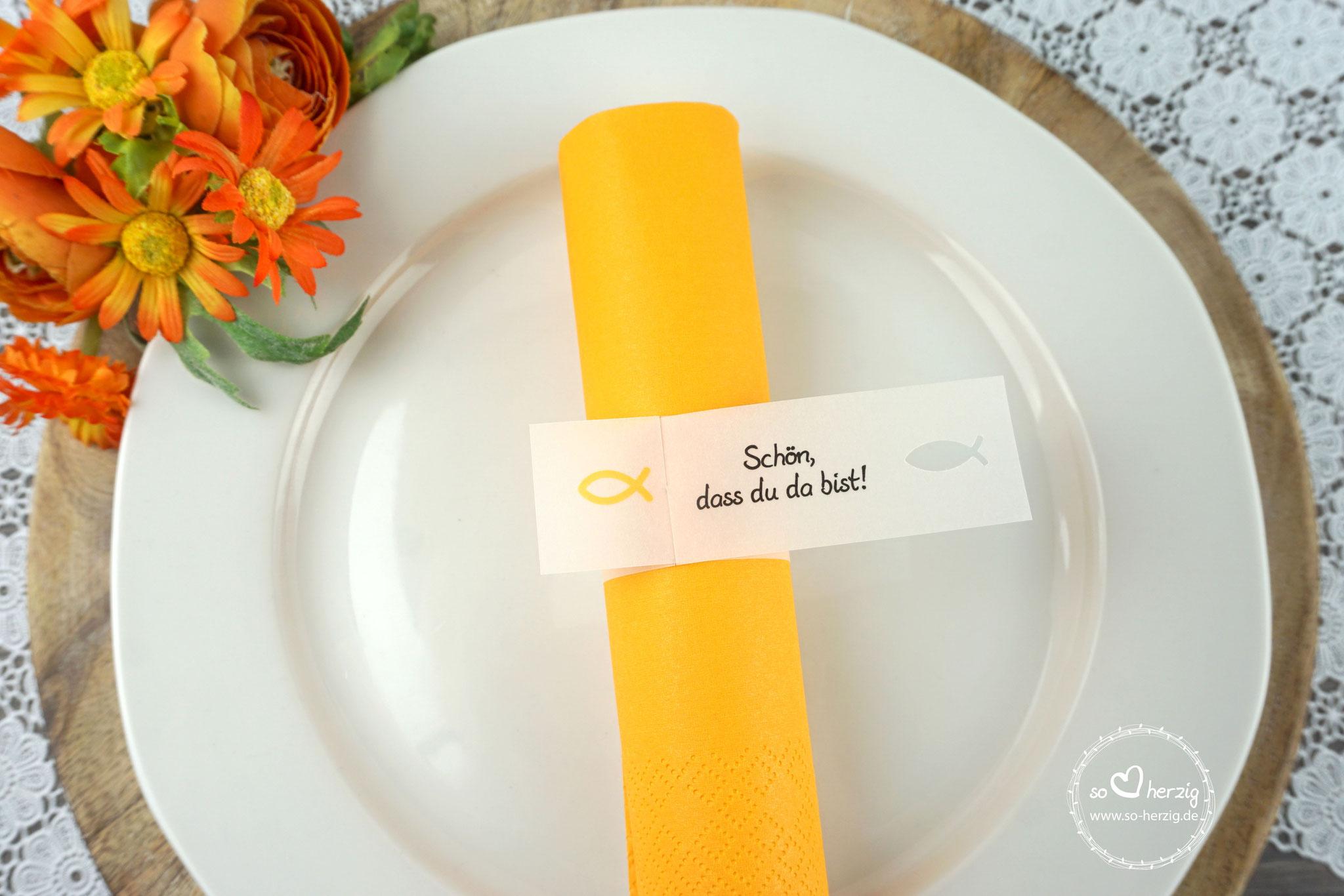 Serviettenring Design Fisch Silhouette, Farbe Gelb, Randabschluss Fisch