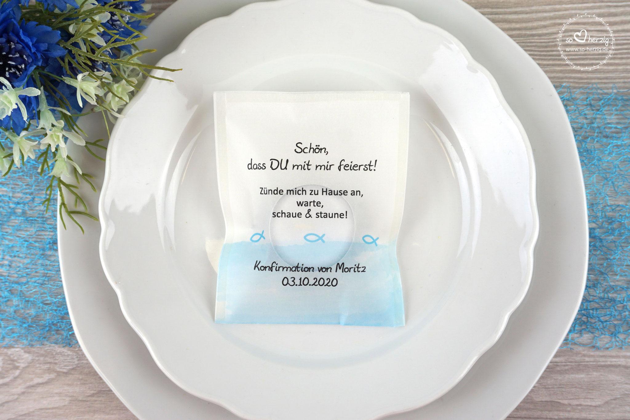 """Teelicht-Botschaft Design """"Fisch Silhouette"""" Farbe Hellblau"""