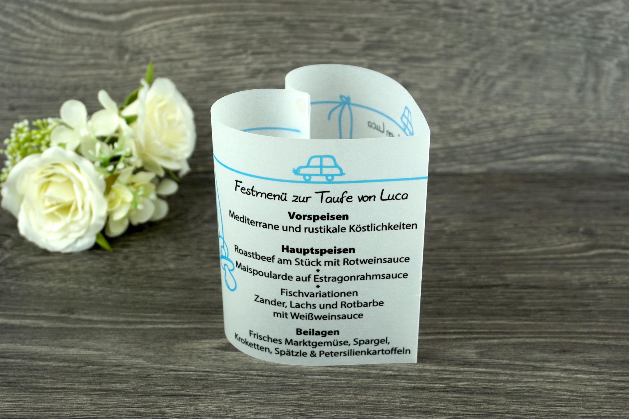 Menükarte Taufe 10,5cm, Design Aquarellherz, Farbe Blau