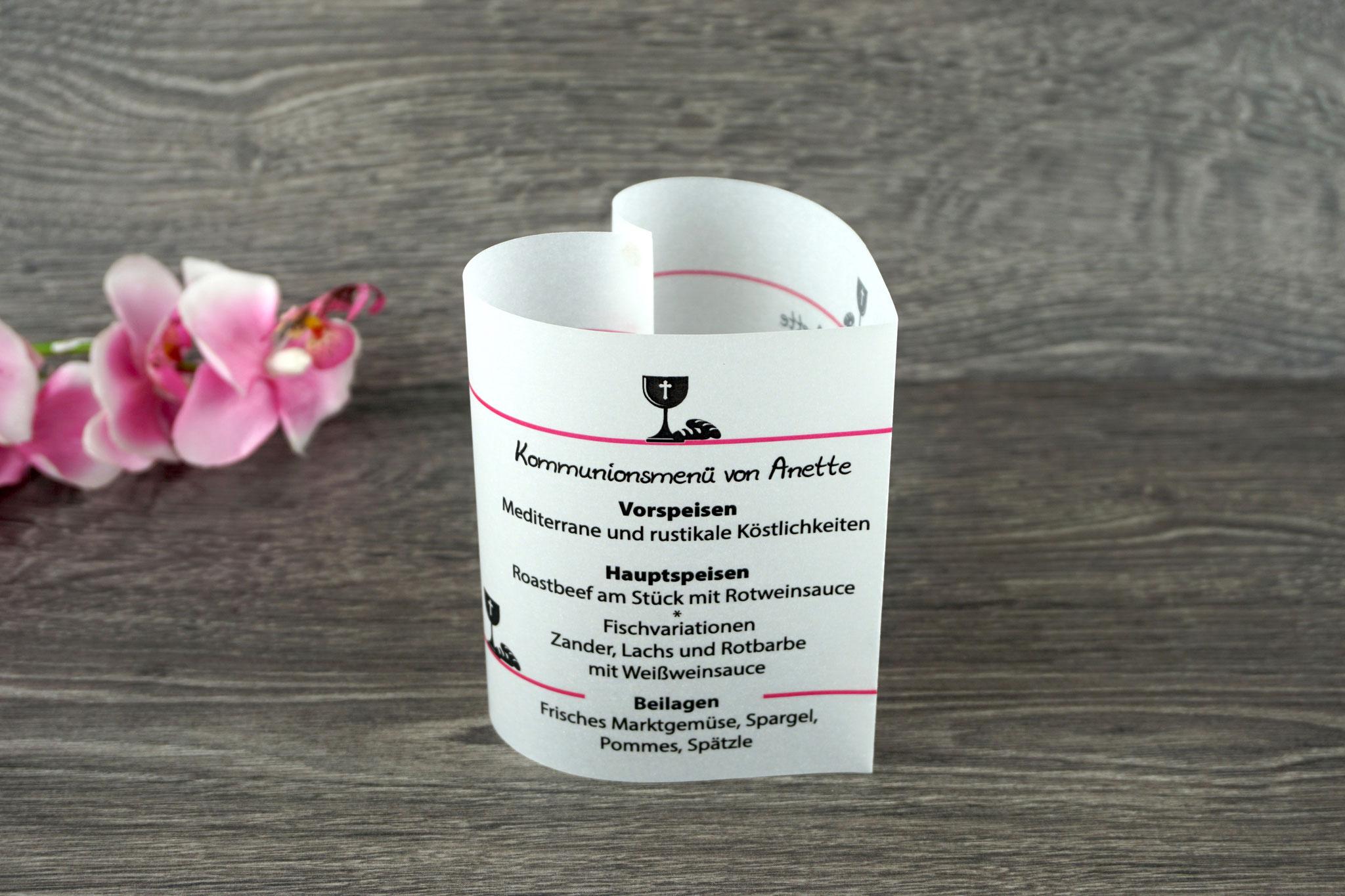 Menükarte Design Kelch/Brot, Farbe Pink