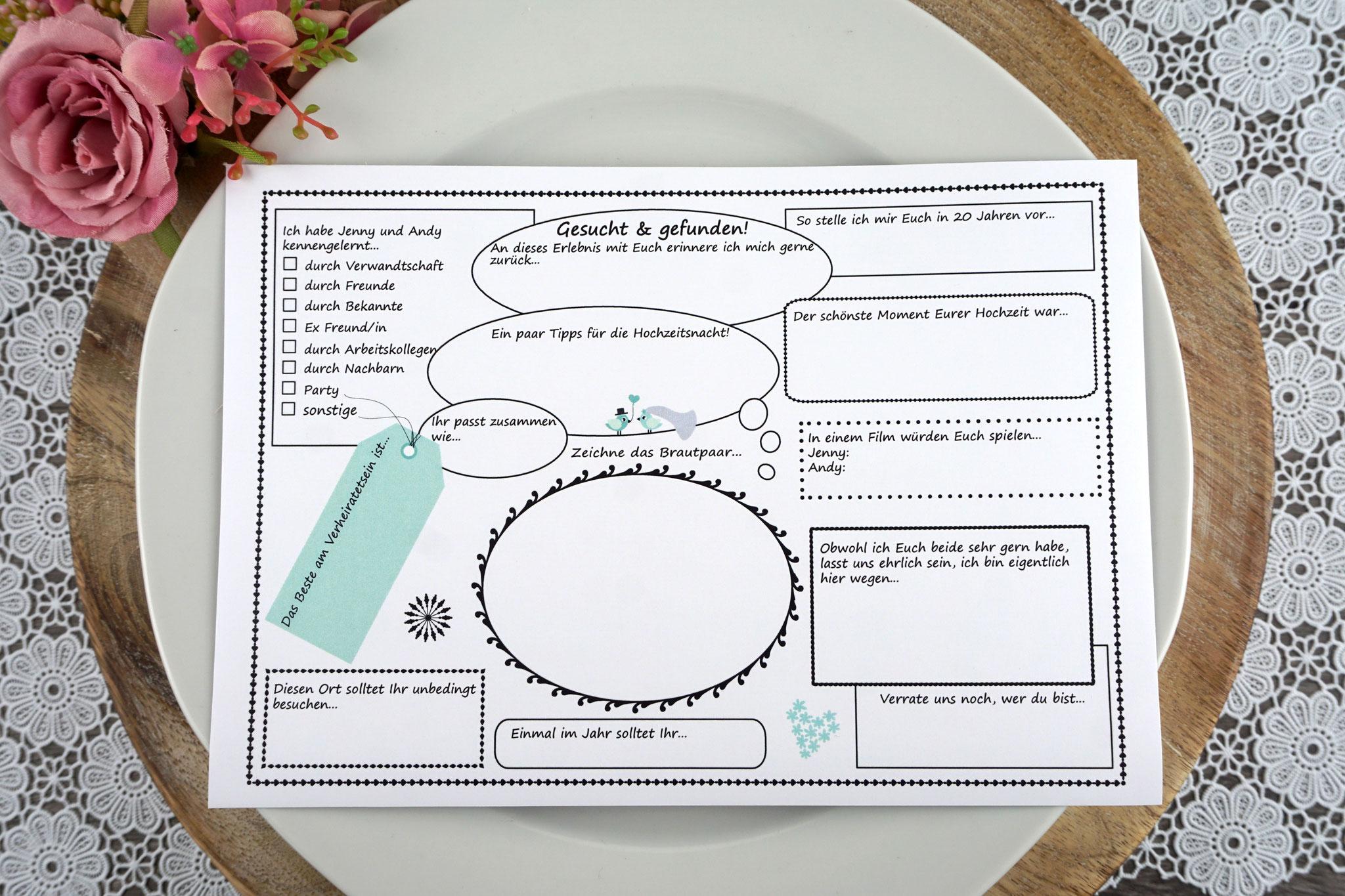 Gästebuch/Gästespiel A5 Personalisiert, Farbe mint - Sonderanfertigung Fragen