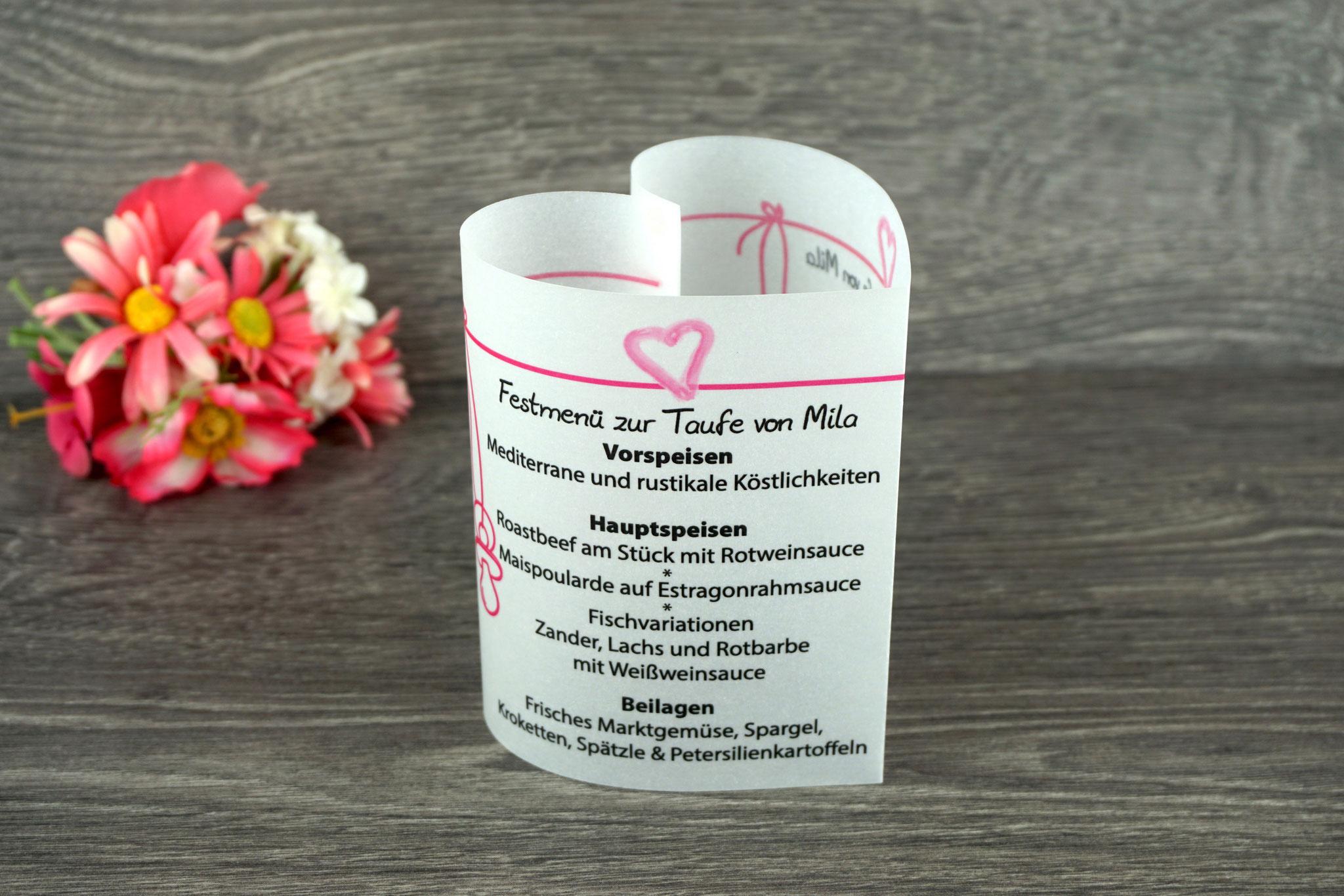 Menükarte Taufe 10,5cm, Design Aquarellherz, Farbe Pink