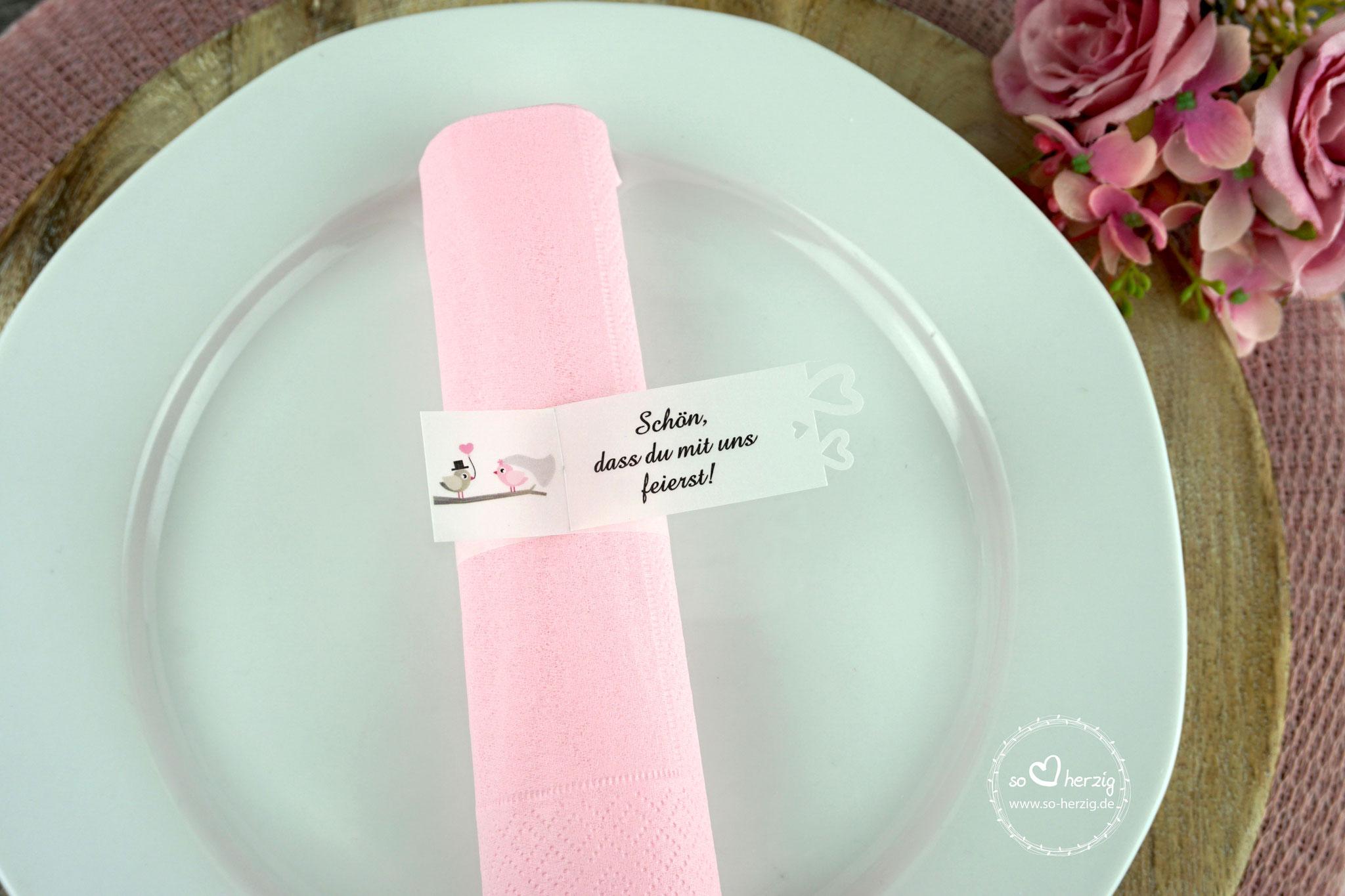 Serviettenring Design Hochzeitsvögel rosa/beigegrau, Ausstanzung Herzrand