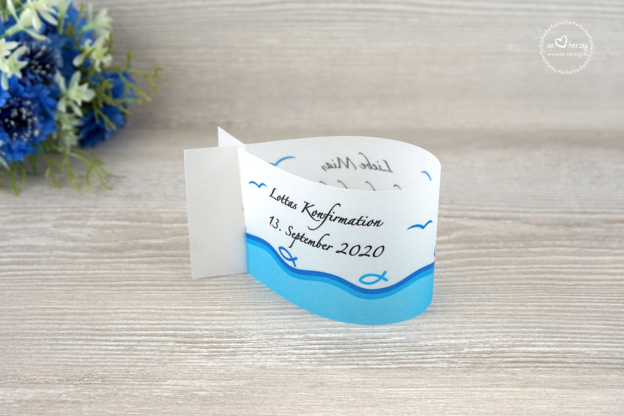 Platzkarte Fischform, Design Fisch Silhouette Blau - Sonderwunsch Möven