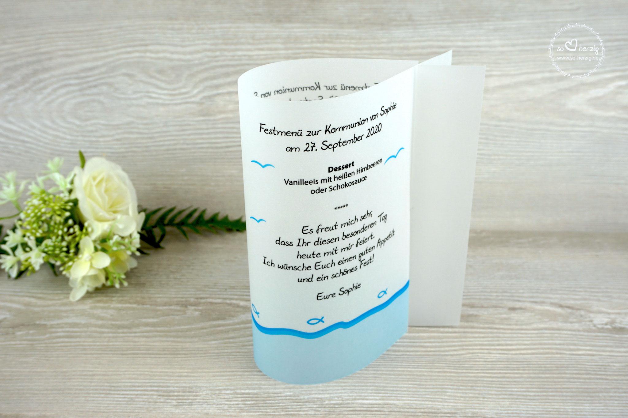 Menükarte Fischform, Design Fisch Silhouette Aqua - Sonderwunsch Möven