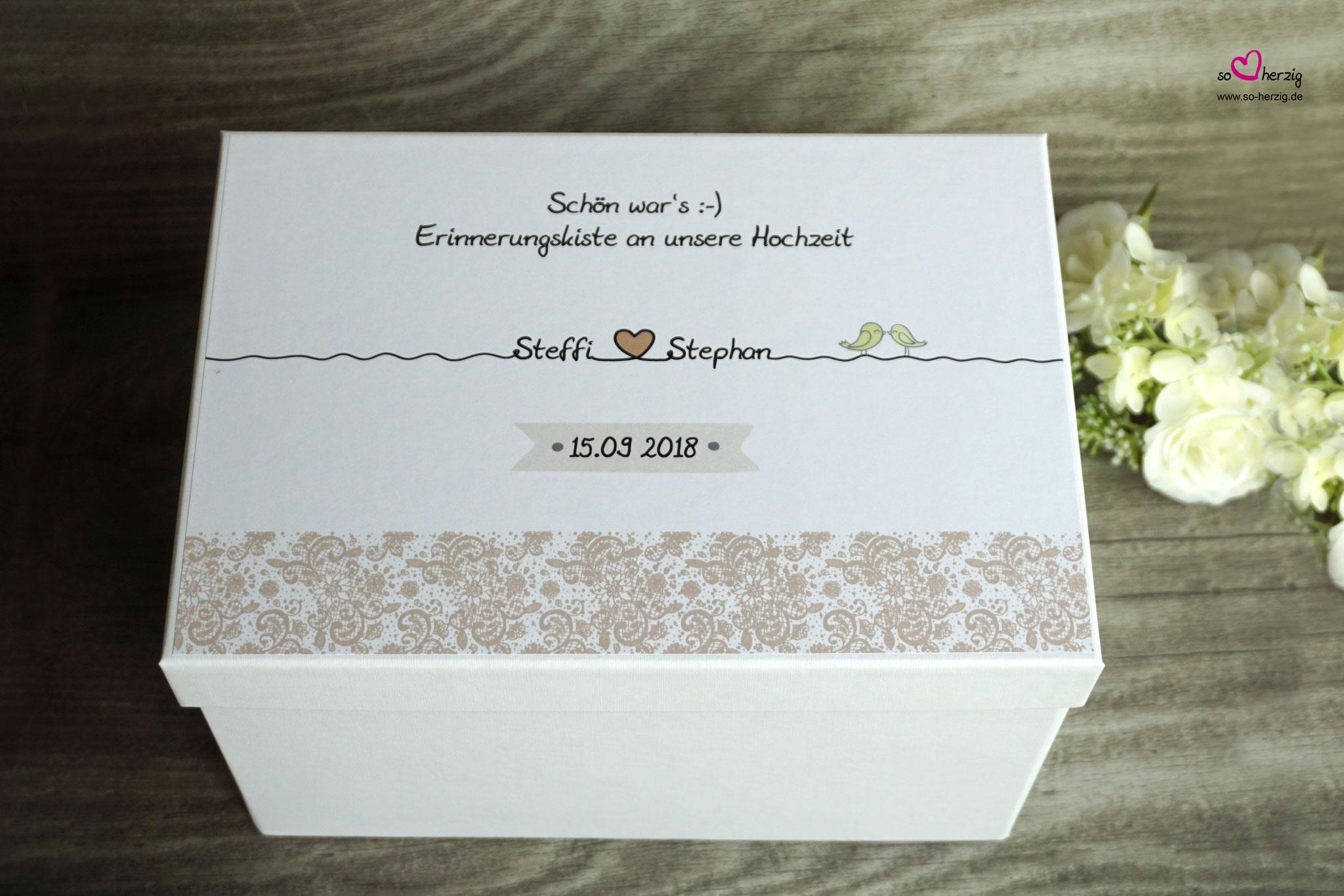 Hochzeits-Erinnerungskiste, Spitze Beige - Sonderanfertigung