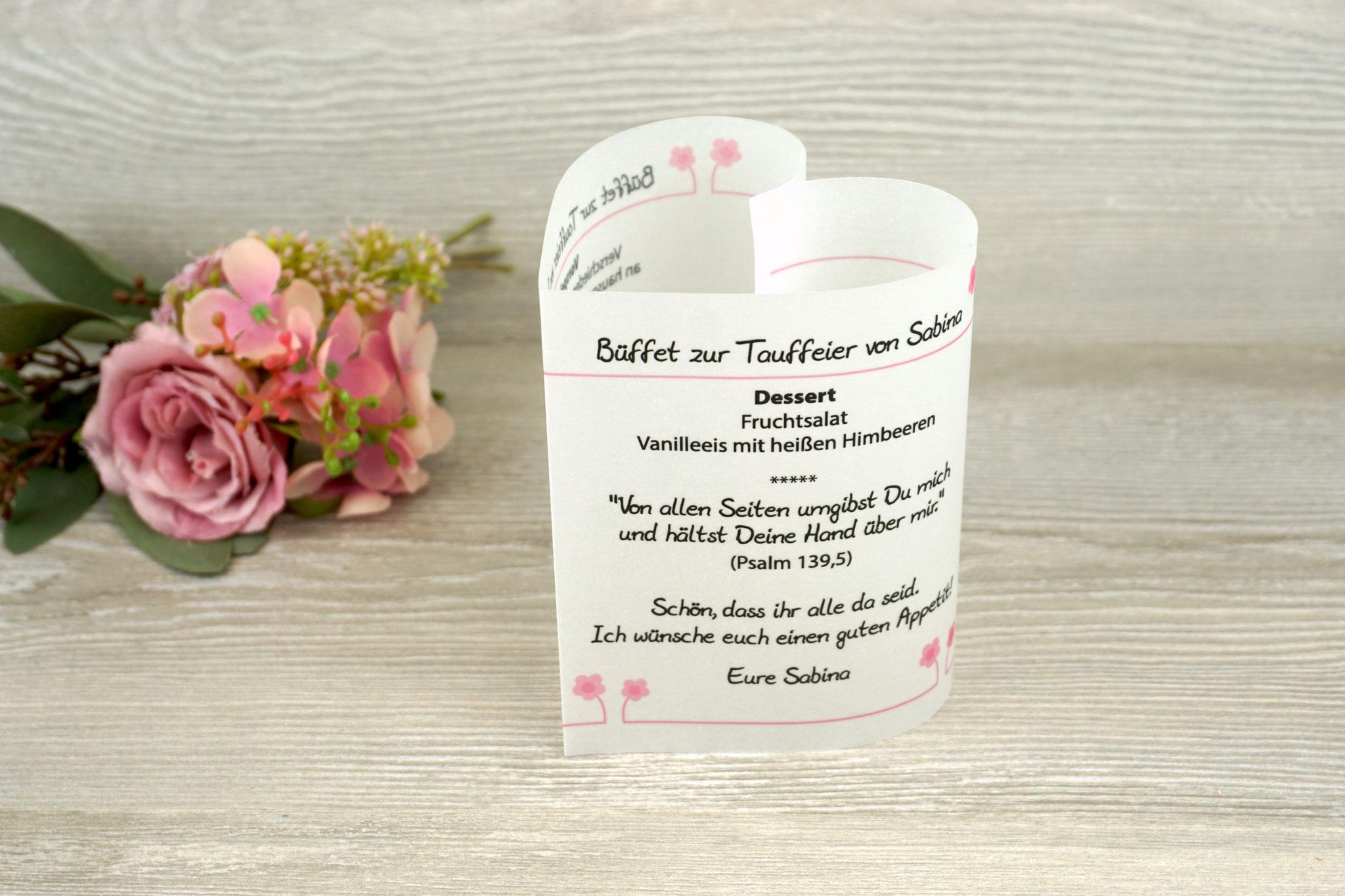 Menükarte Taufe 10,5cm, Design Blümchen, Farbe Rosa