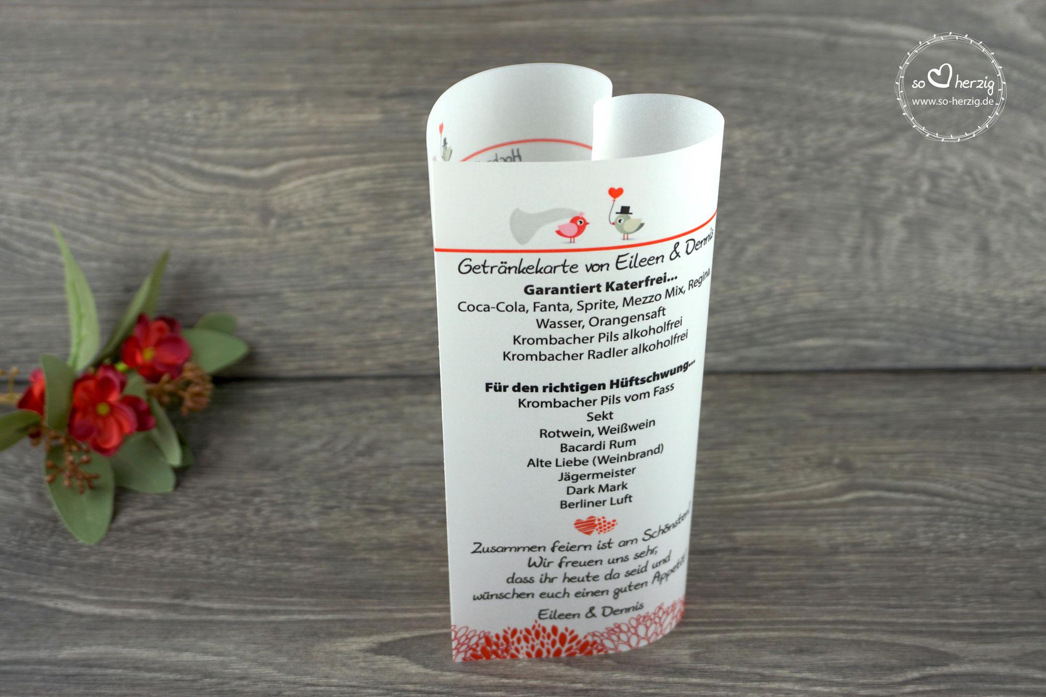 Menü,- und Getränkekarte 17cm, Design Hochzeitsvögel, Farbe Graubraun/Rot, Schrift Julius B Thyssen