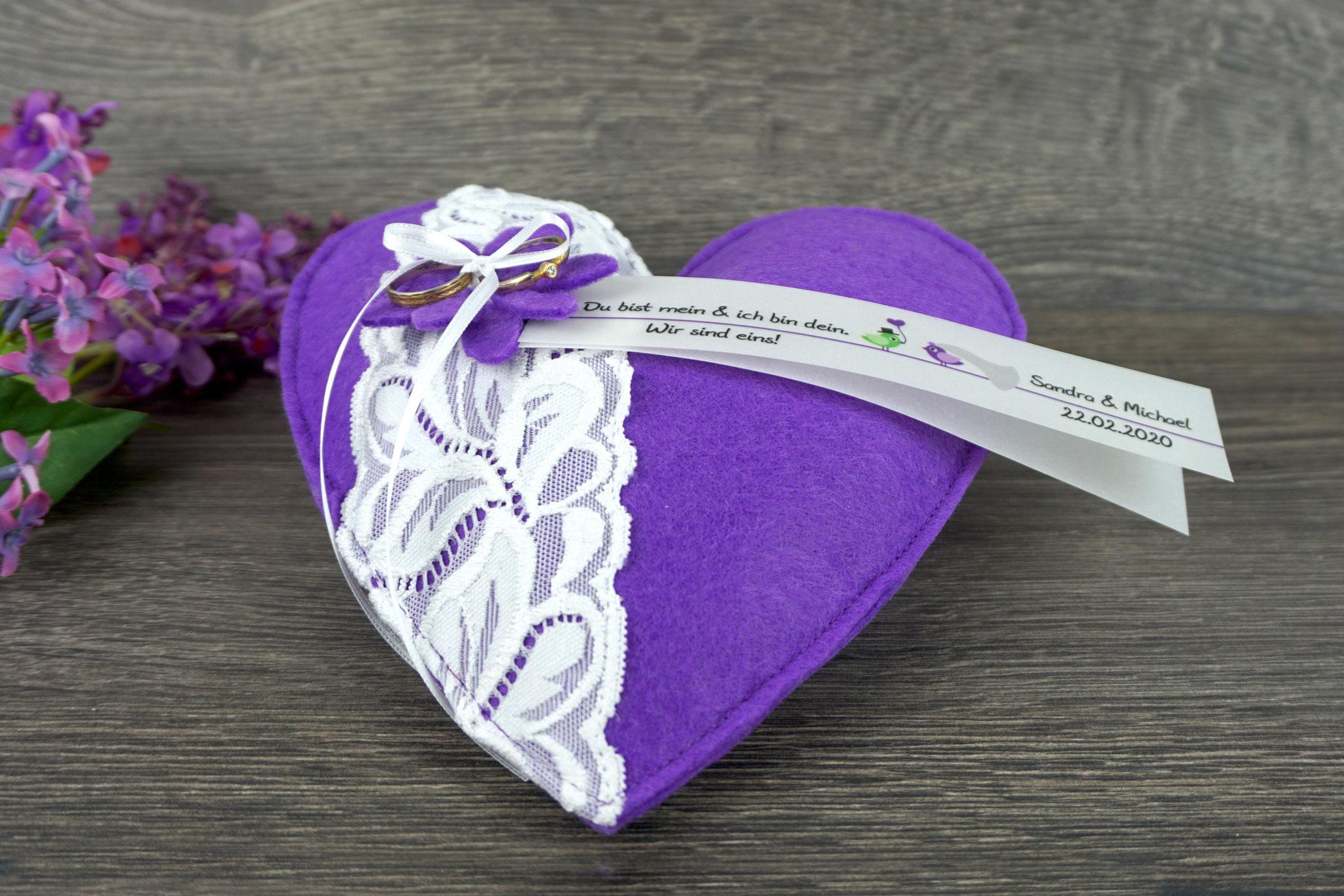 Ringkissen Herz Filz Lila - Design Hochzeitsvögel