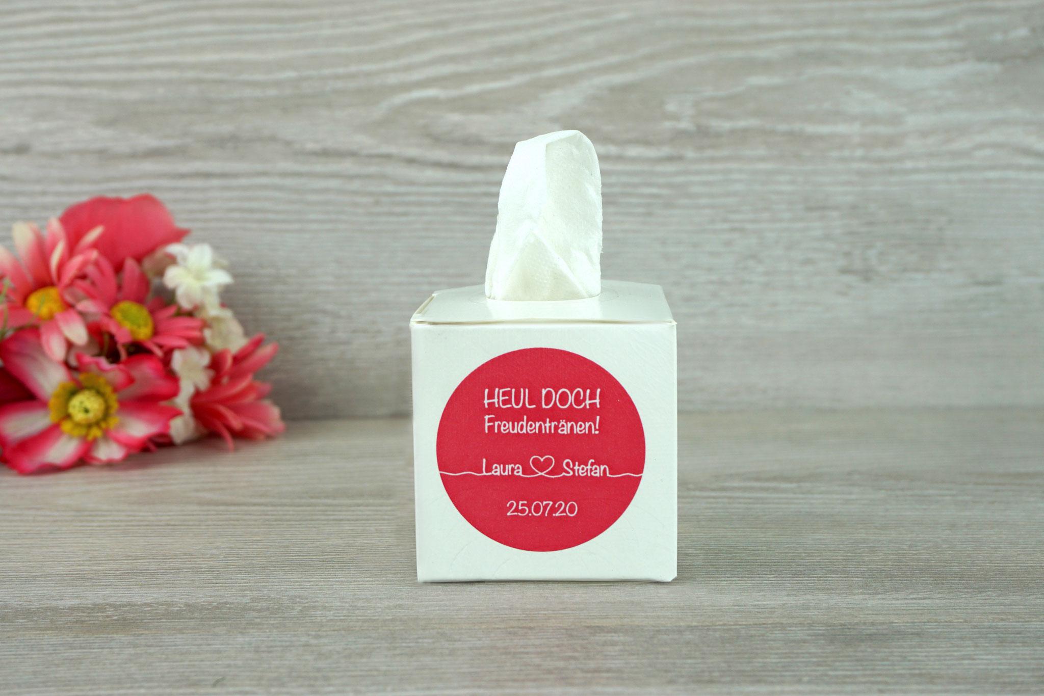 """Freudentränen Box Weiß, fertig gestaltet, Aufkleber """"Für immer"""" Pink/Weiß,"""
