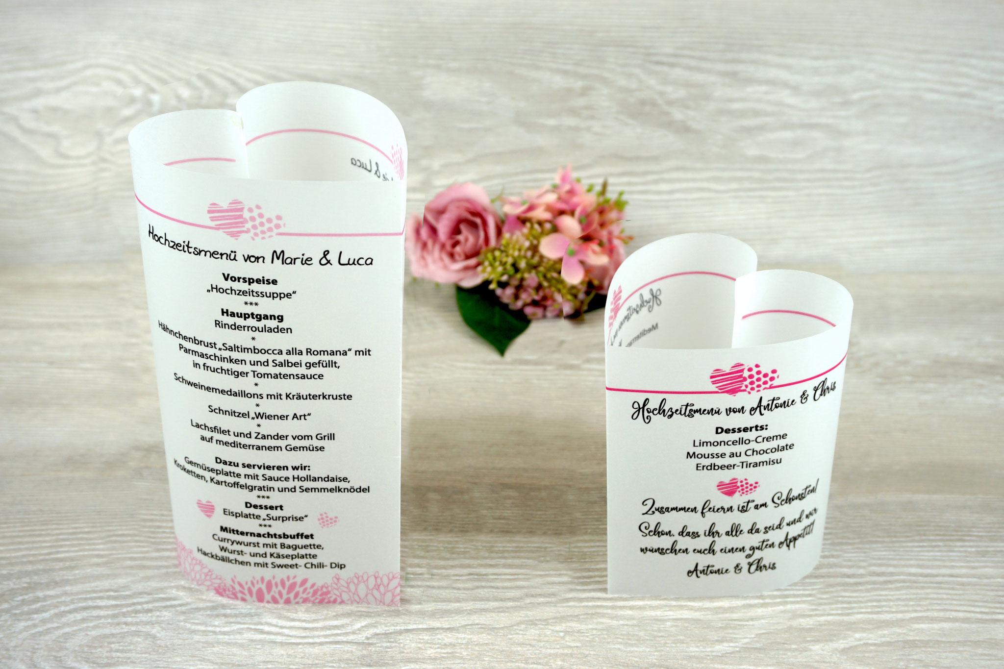 "Menükarten ""Herzform"" Design zwei Herzen, Farbe Rosa Schrift Julius B Thyssen & Pink Schrift Camellia"