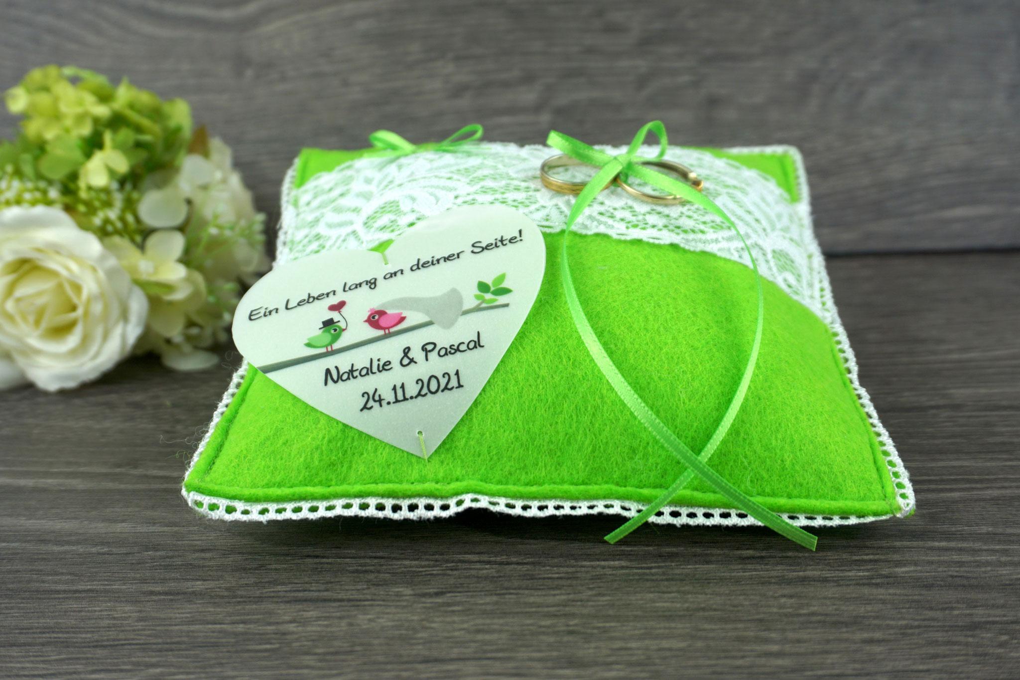 Ringkissen Viola, Filz Apfelgrün