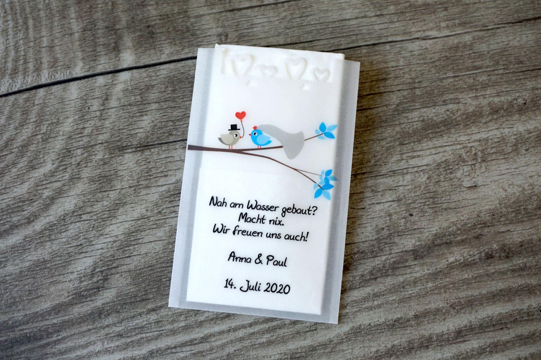 Freudentränen Taschentücher Design Hochzeitsvögel verzweigter Ast, Farbe Blau/Beigegrau mit Herzrand