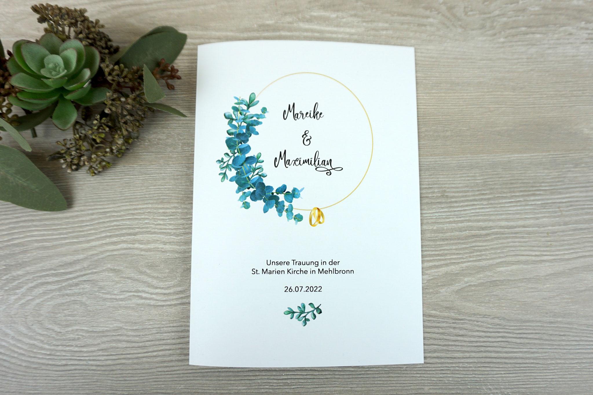 """Kirchenheft Variante """"Deckblatt innen bedruckt"""" - Design """"Eukalyptus goldfarben"""", Schrift Camellia"""