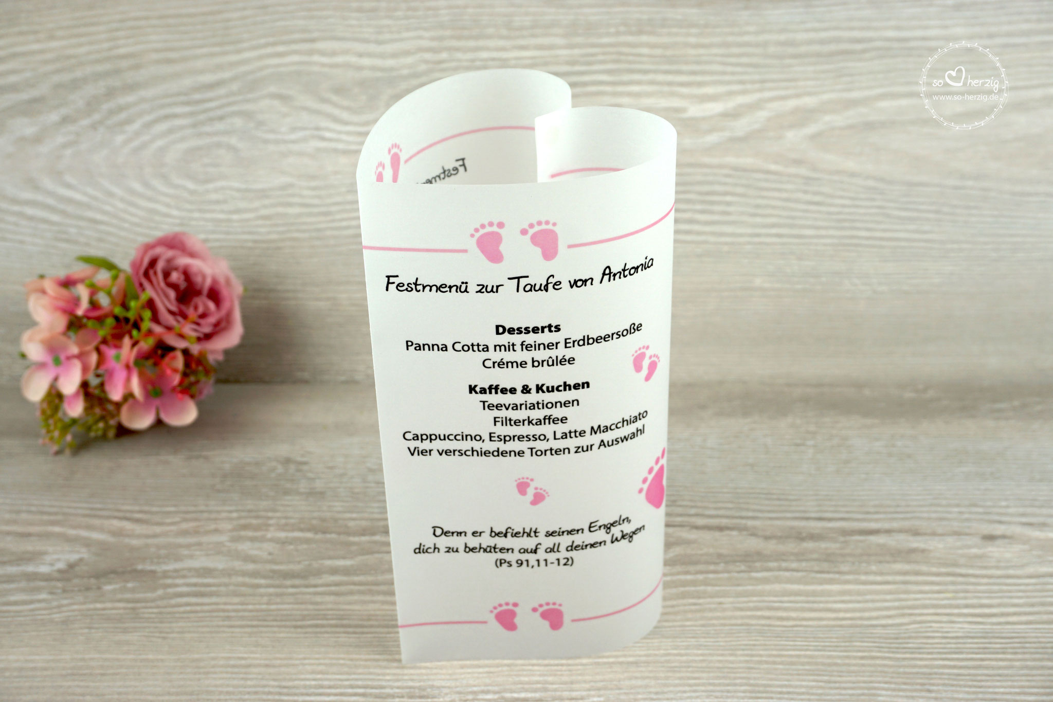 Menükarte Taufe 17cm, Design Foot, Farbe Rosa