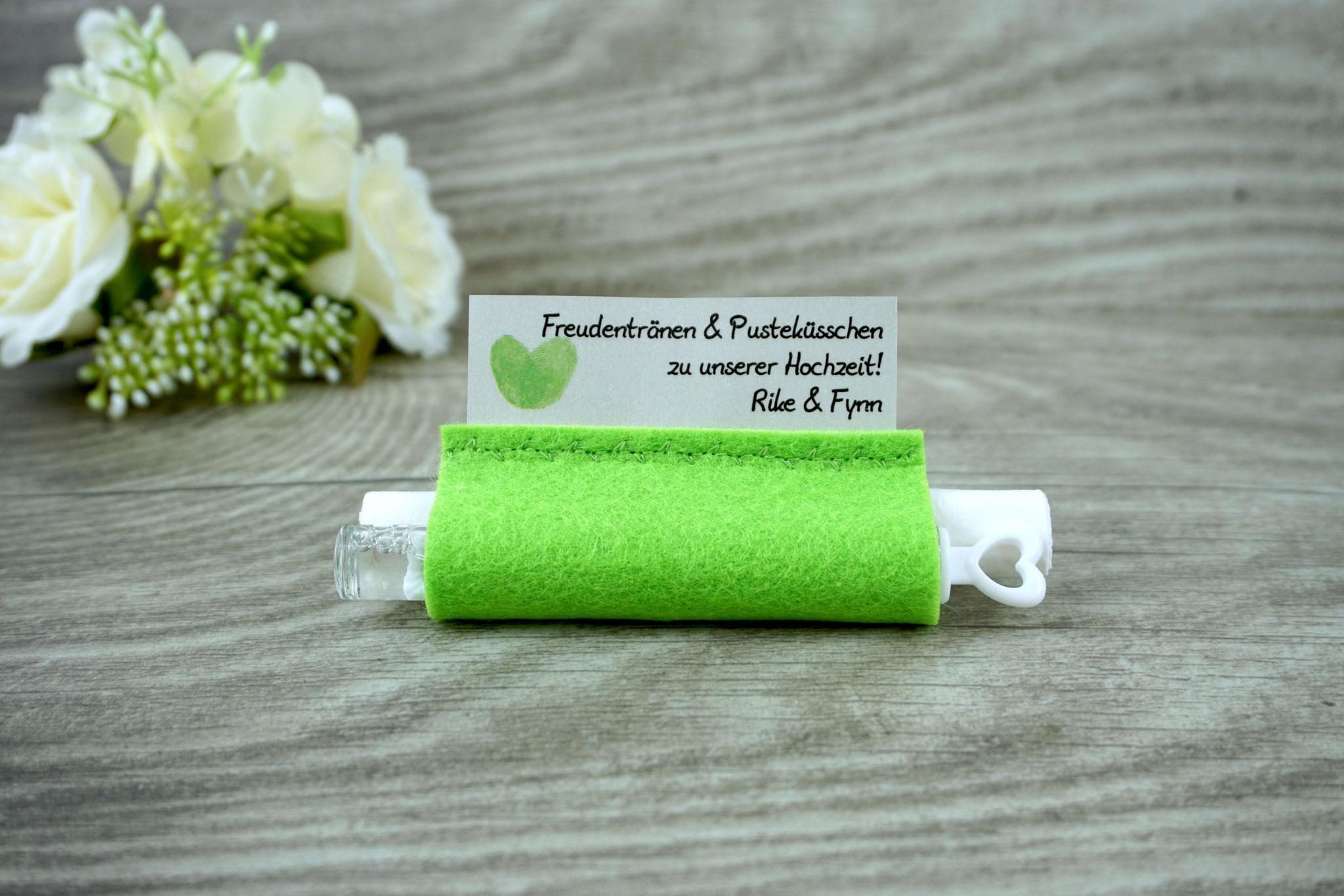 Freudentränen Taschentücher mit Weddingbubbles, Filz apfelgrün, Design Fingerprint