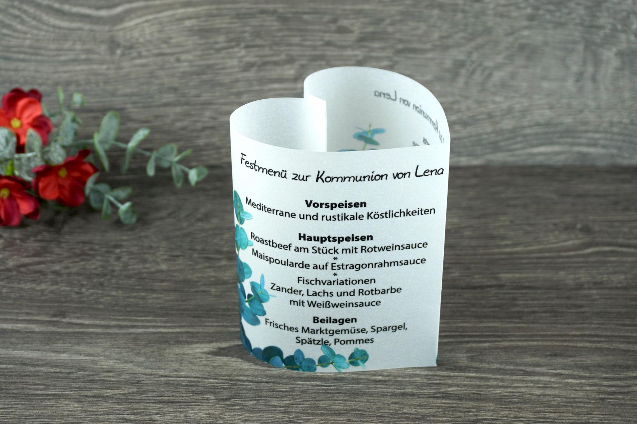 Menükarte Herzform 10,5cm, Design Eukalyptus