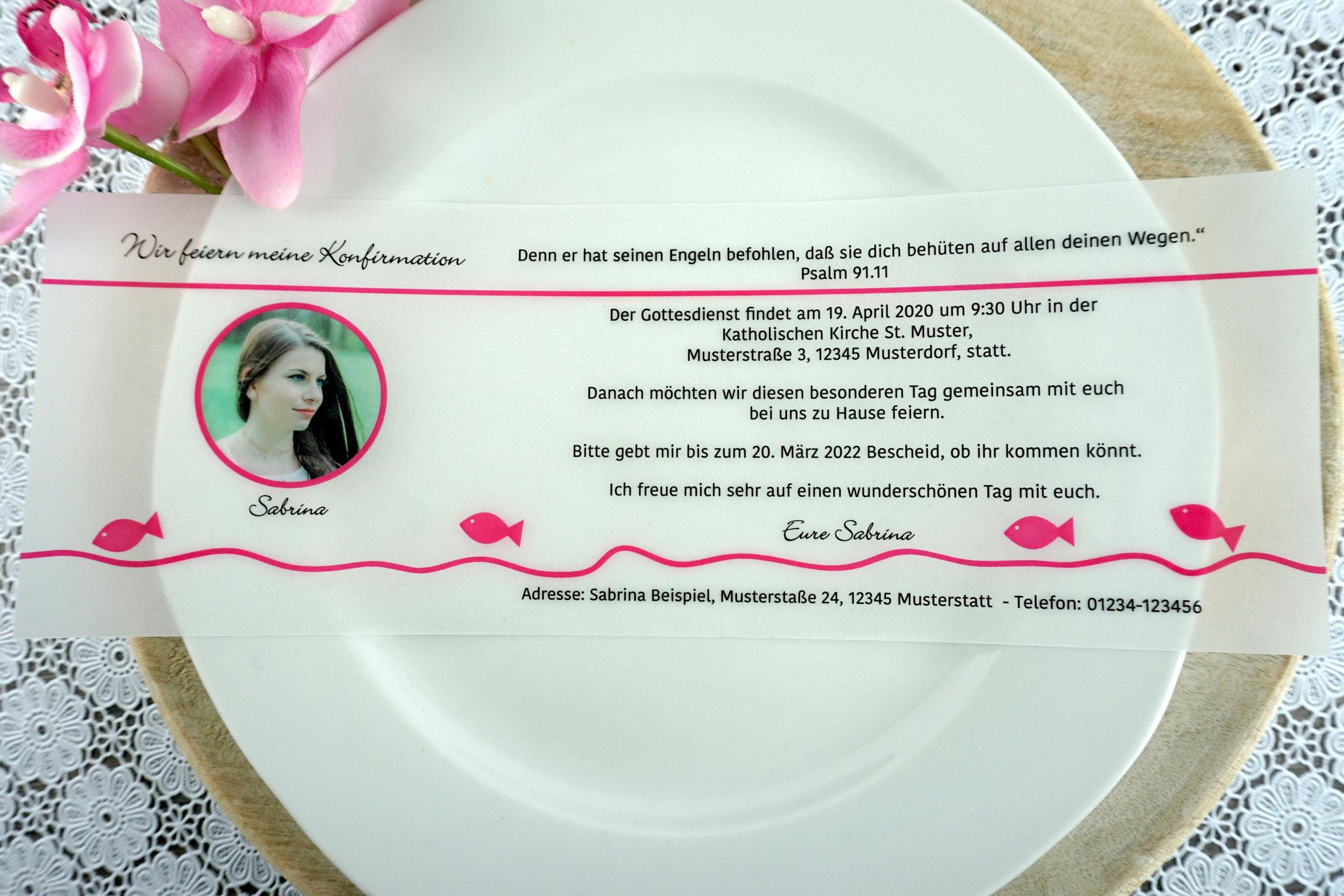 Einladungskarte aus Pergamentpapier Design Fisch pink - mit Bild