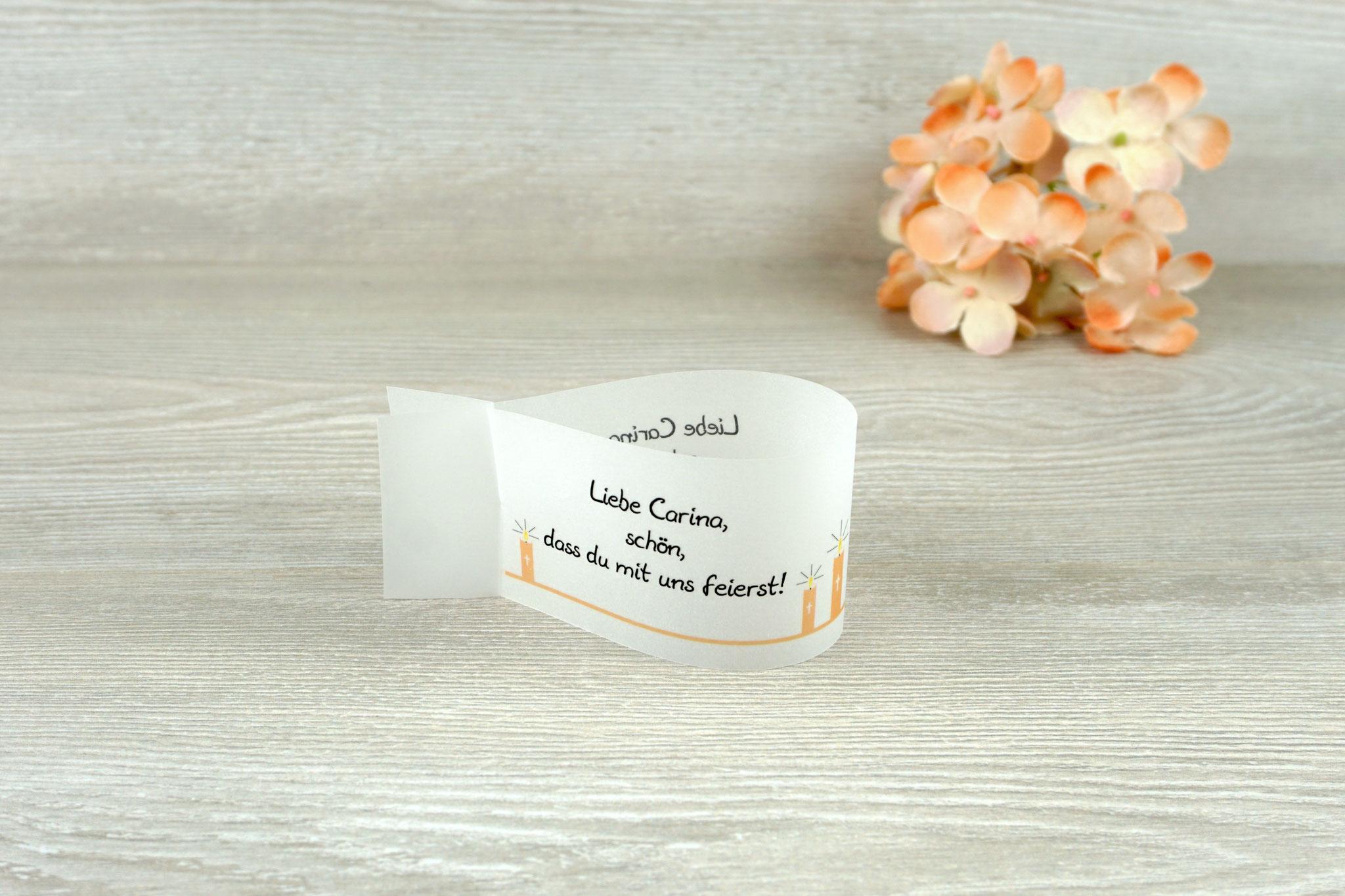 Platzkarte Fischform, Design Kerzen Apricot